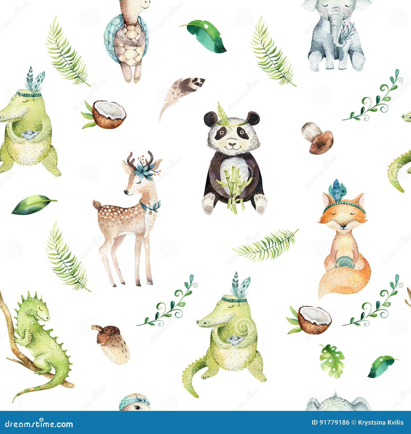 Teste padrão sem emenda isolado berçário dos animais do bebê Desenho tropical do boho da aquarela, desenho tropical da criança, p