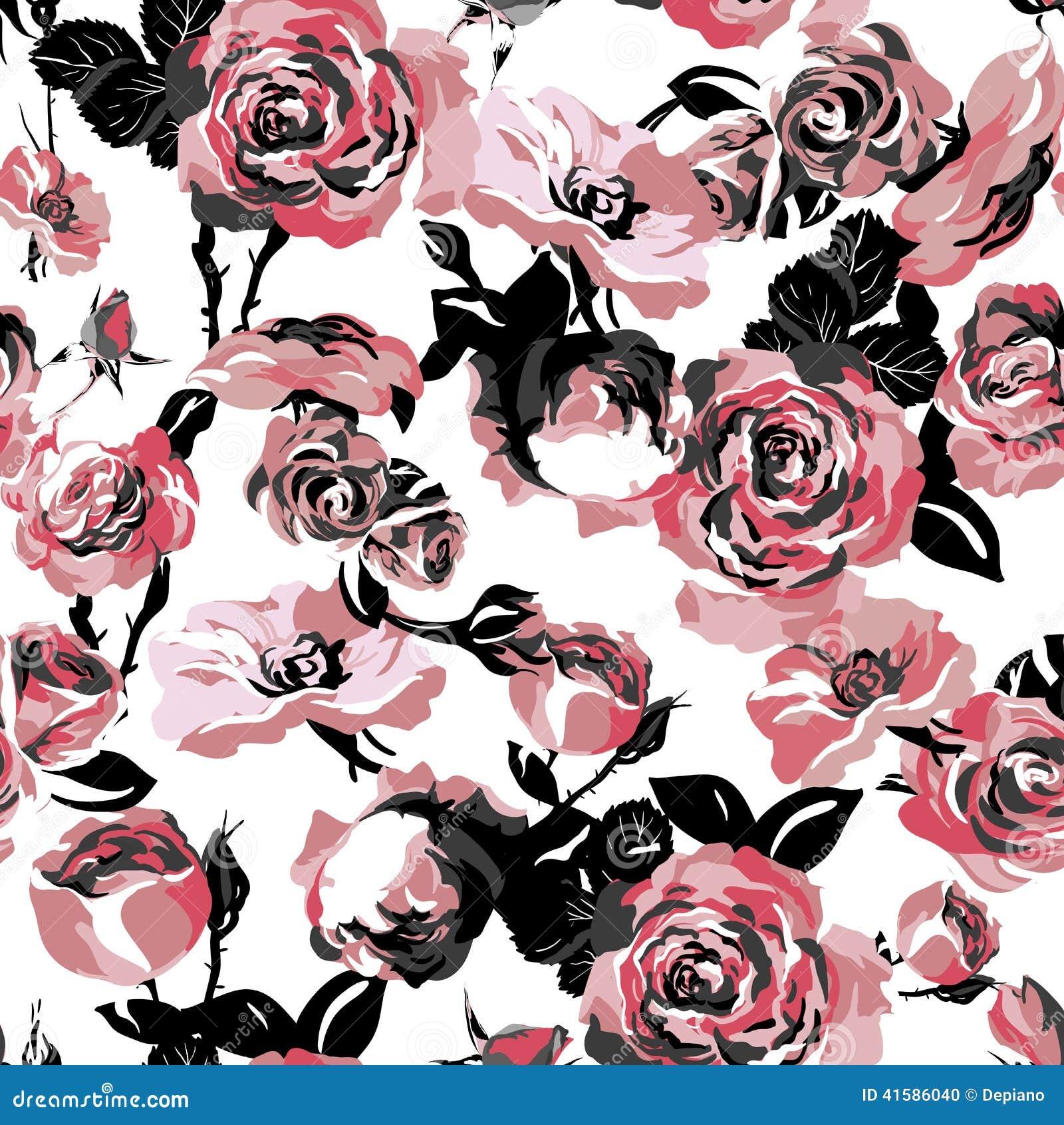Teste padrão sem emenda monocromático com rosas do vintage