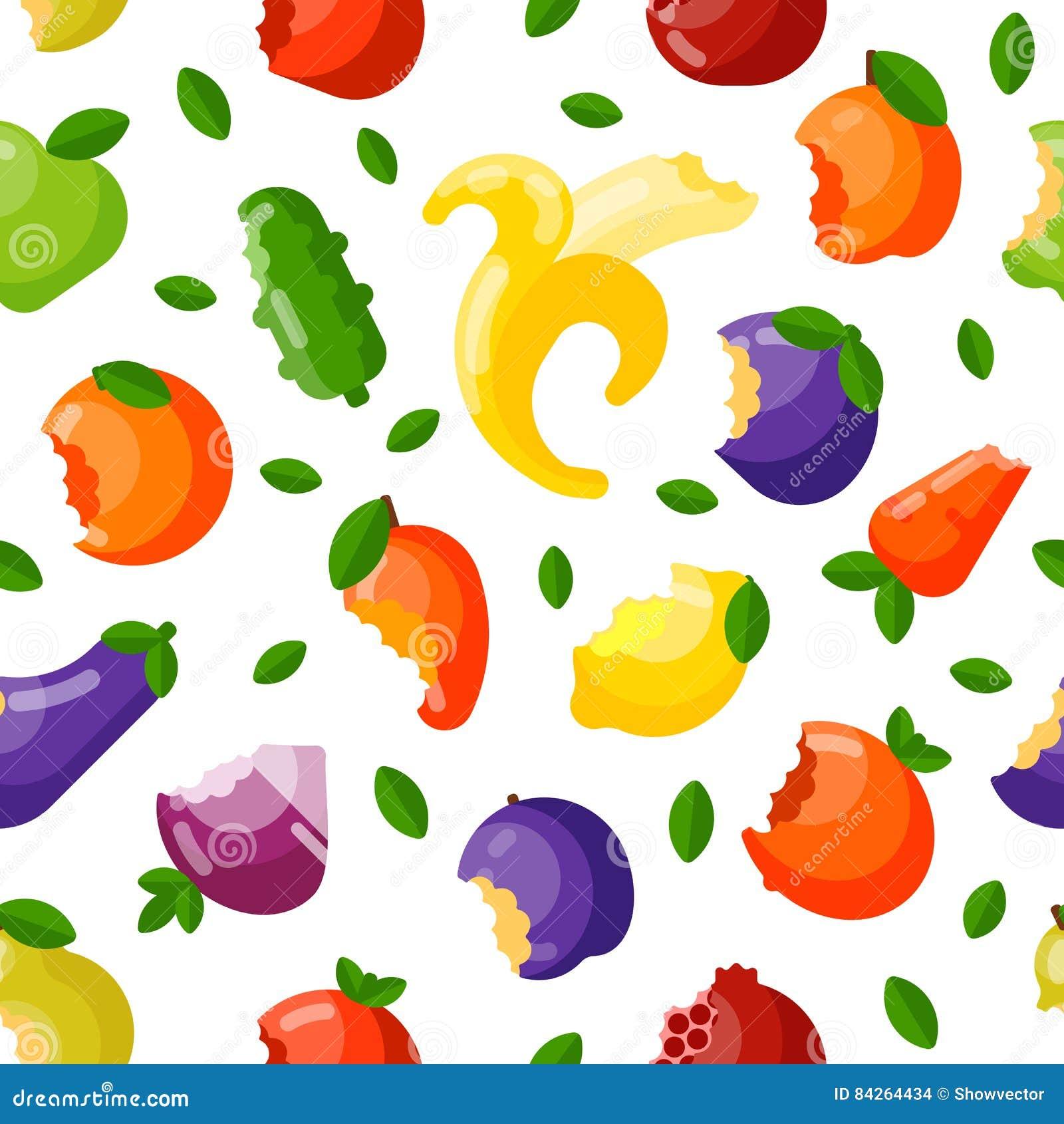 Teste padrão sem emenda mordido do vetor dos frutos