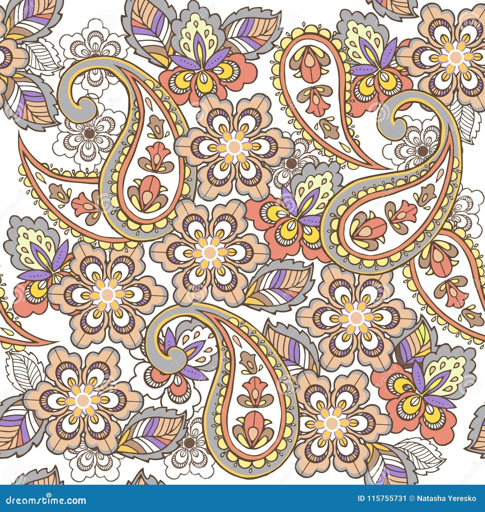 Teste padrão sem emenda oriental de paisley nas cores pastel Contexto decorativo do ornamento para a tela, matéria têxtil, papel