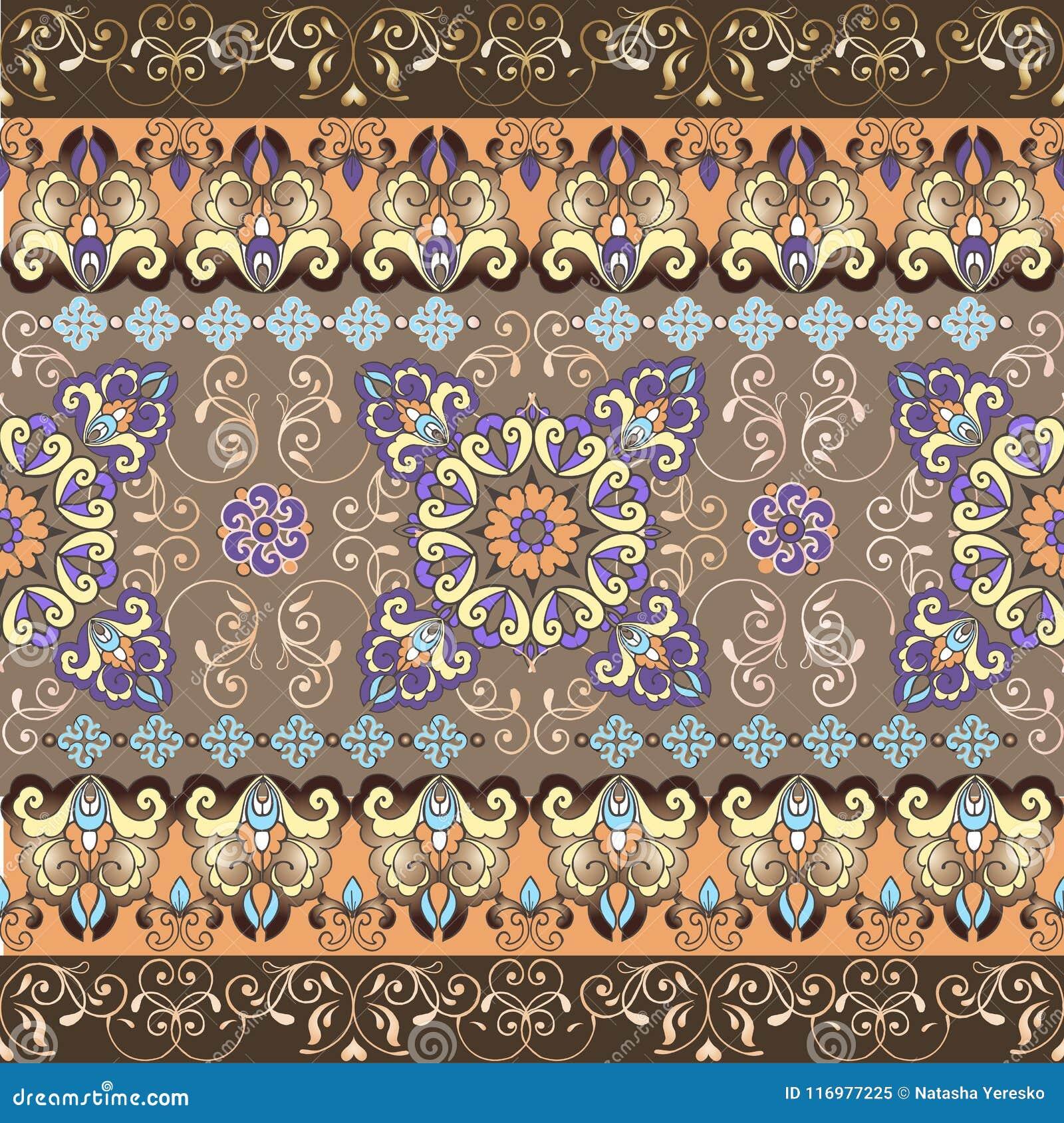 Teste padrão sem emenda oriental listrado Teste padrão pastel com beira do ouro Ornamento decorativo para a tela, matéria têxtil,