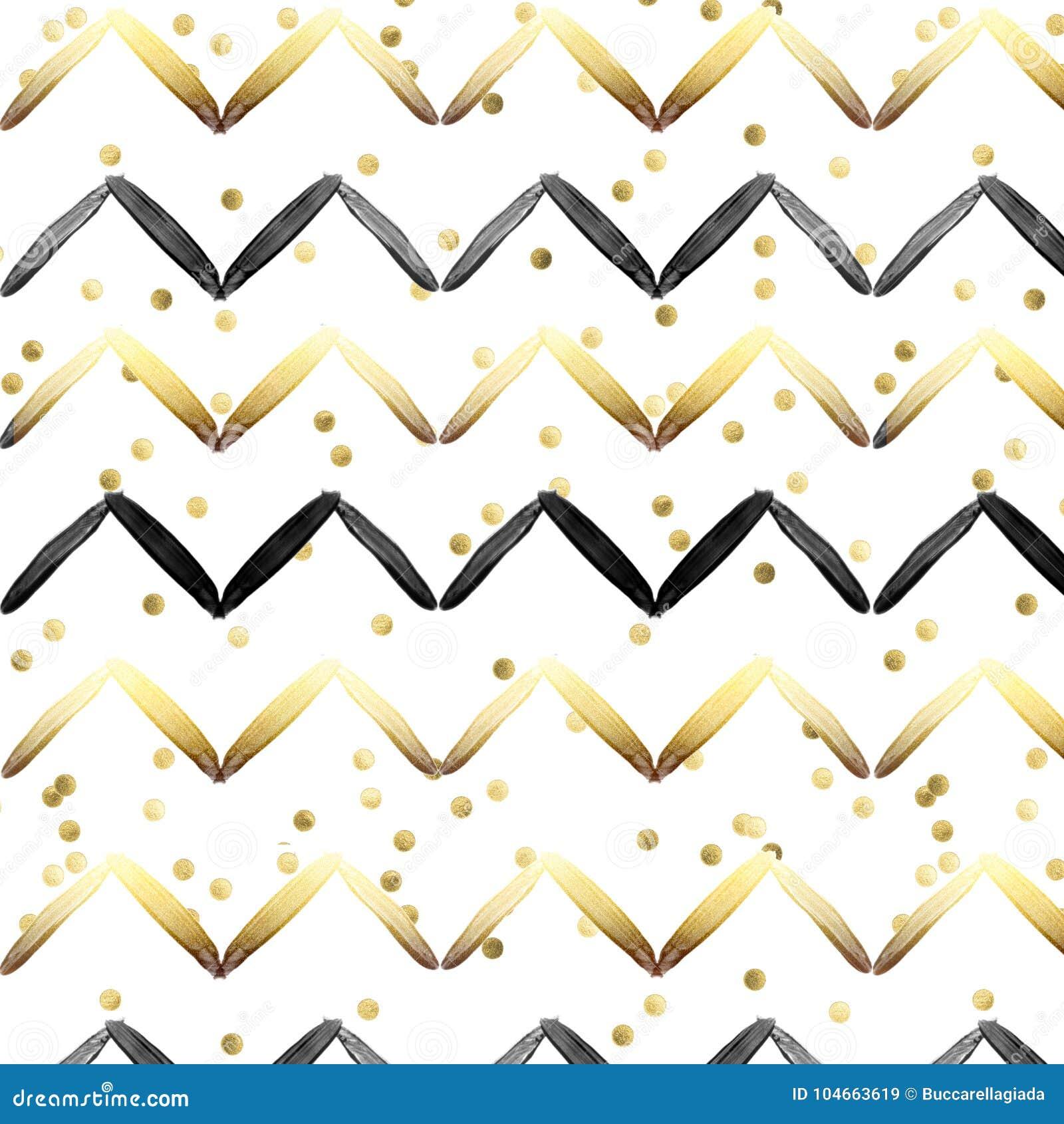 Teste padrão sem emenda - preto e listras do ouro no conftti do ouro e no fundo branco