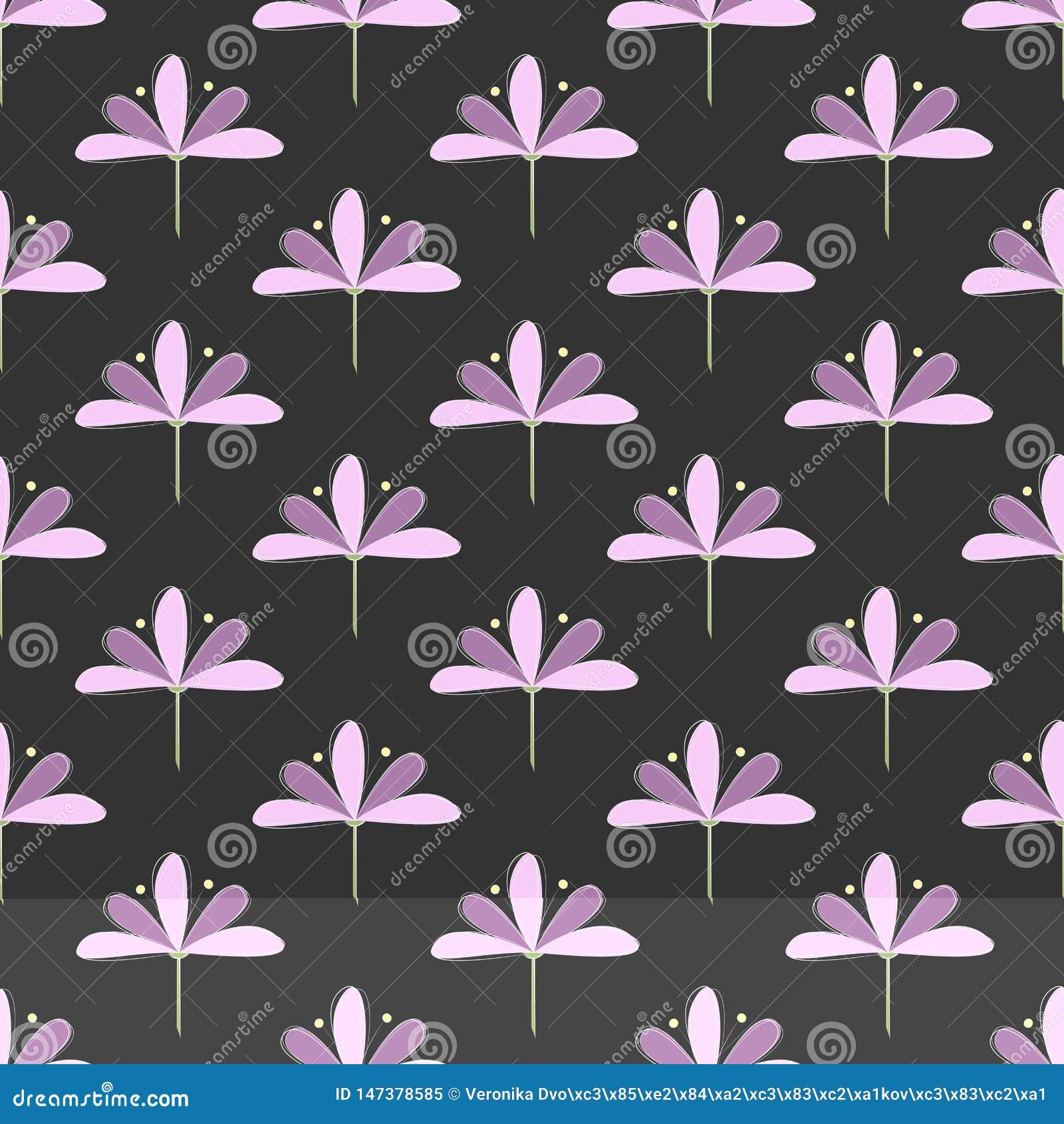 Teste padrão sem emenda: Repetindo o und Violet Blooms de Lila no fundo escuro