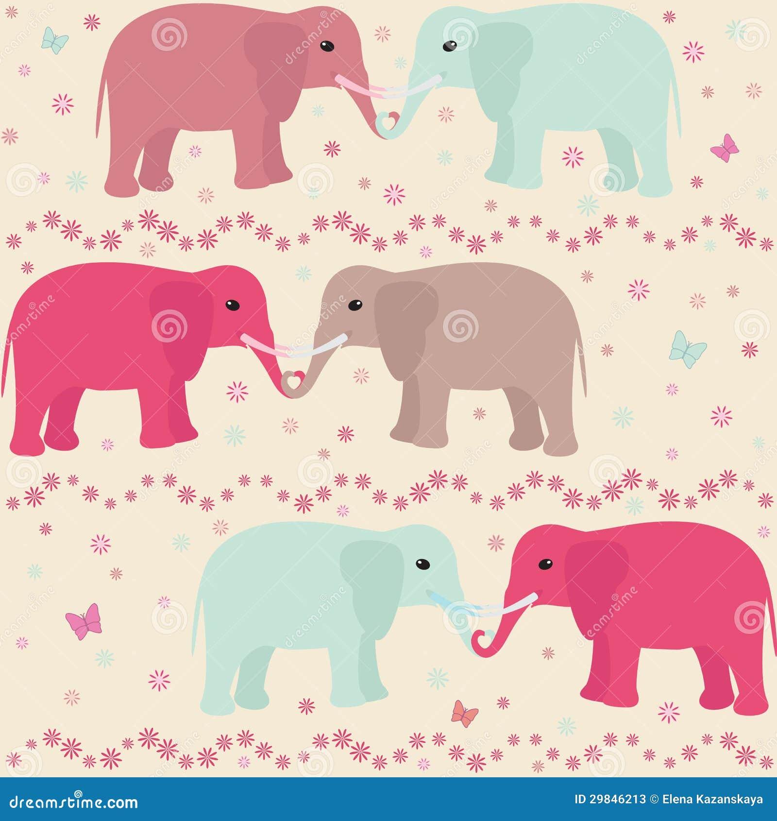 Teste padrão sem emenda romântico com elefantes