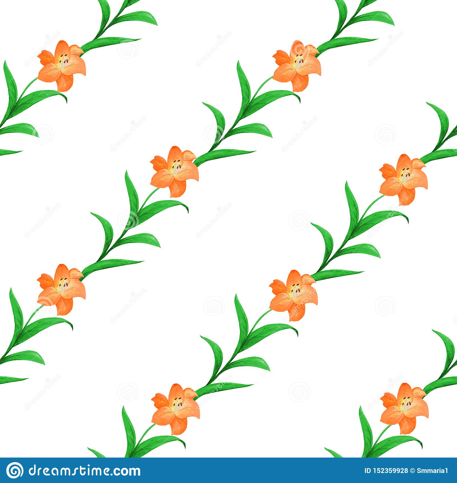 Teste padrão sem emenda simples de lírios alaranjados com as folhas verdes entrelaçadas em um fundo branco
