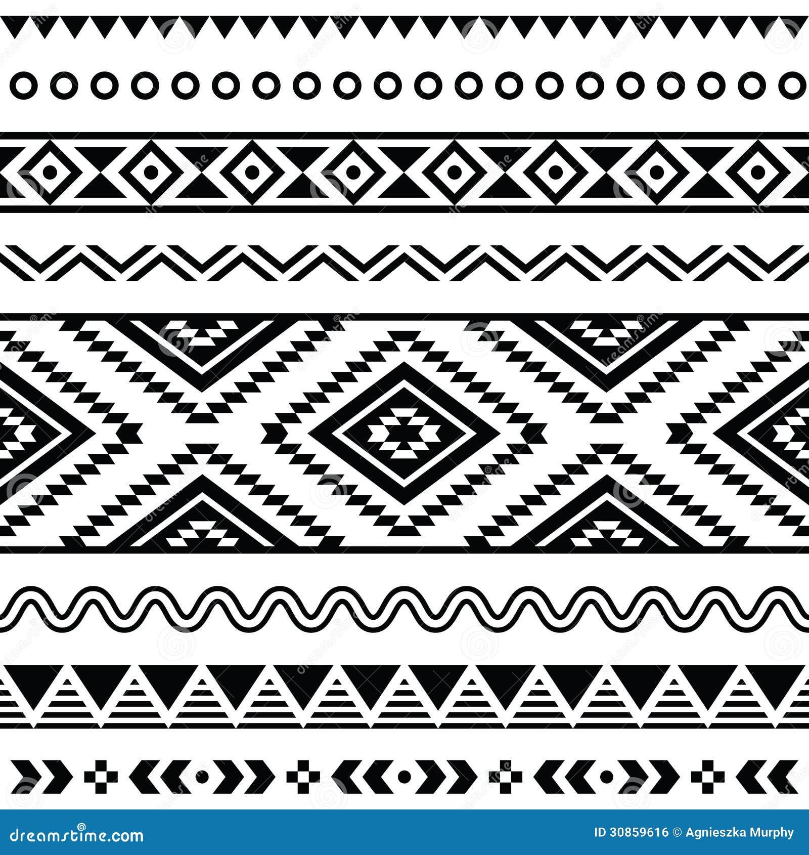 Teste padrão sem emenda tribal, fundo preto e branco asteca