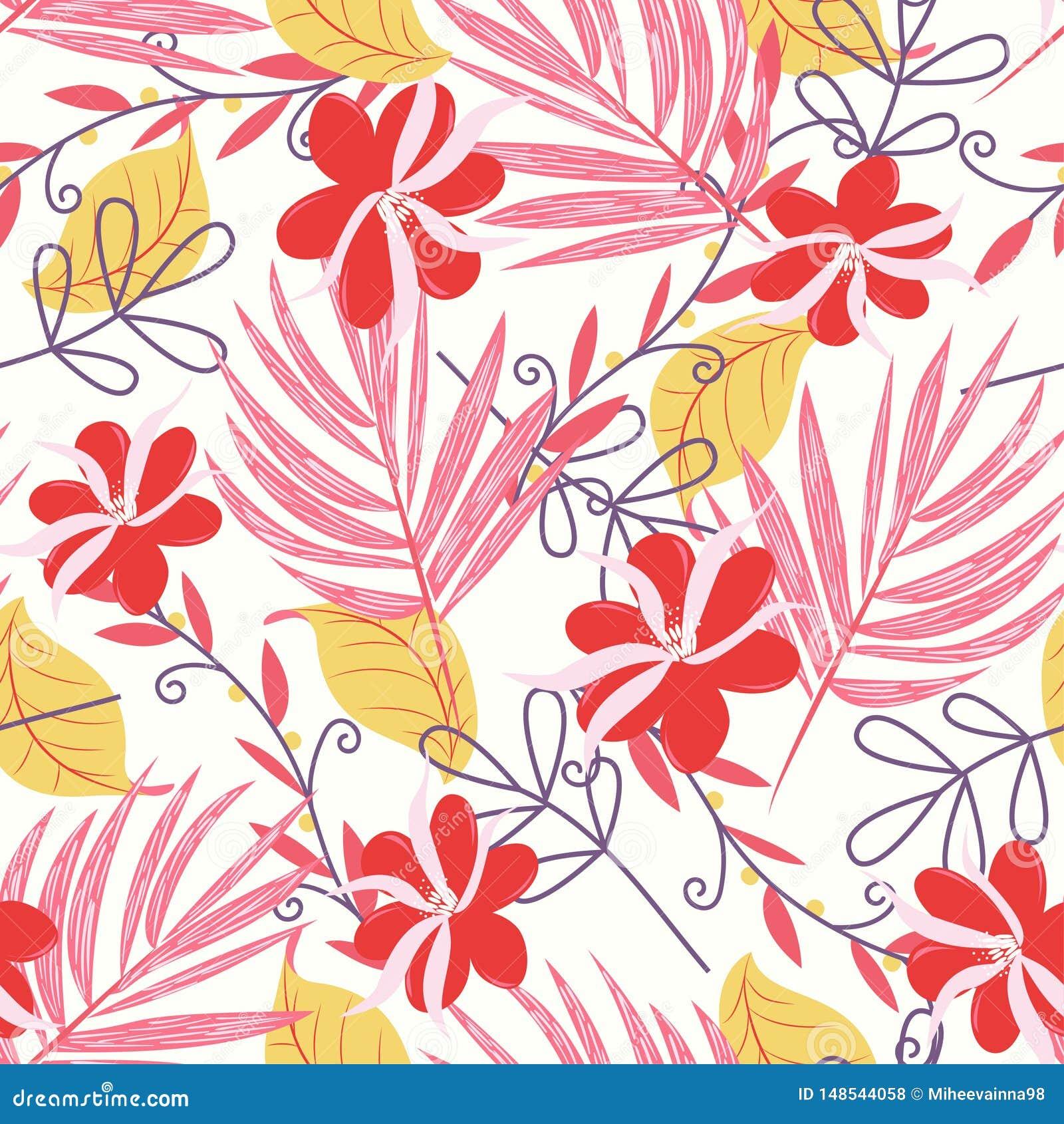 Teste padrão sem emenda tropical com folhas e as flores brilhantes no fundo branco Projeto do vetor C?pia da selva Impress?o e ma