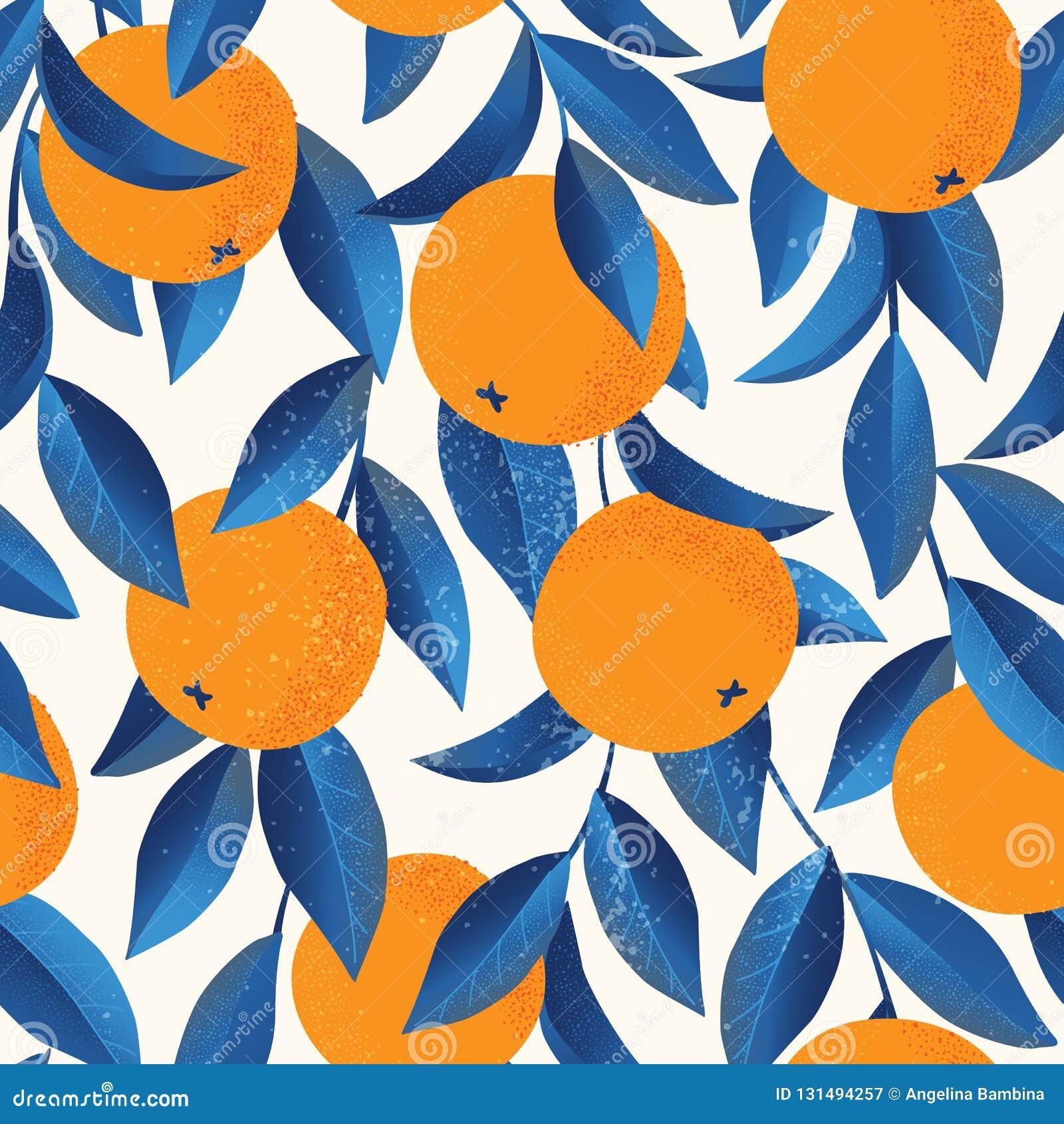 Teste padrão sem emenda tropical com laranjas Fundo repetido fruto Cópia brilhante do vetor para a tela ou o papel de parede