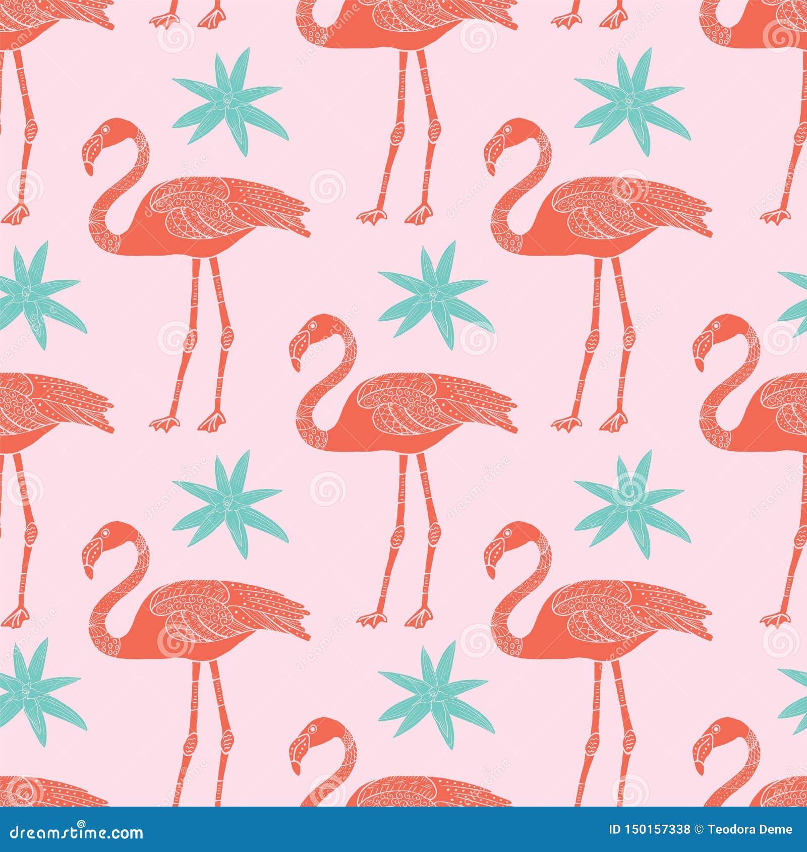 Teste padrão sem emenda tropical dos flamingos e das flores do vetor no fundo cor-de-rosa