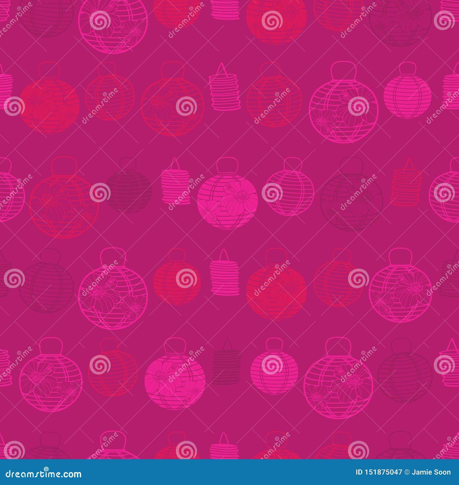 Teste padrão sem emenda vermelho do vetor com lanternas de papel Apropriado para a matéria têxtil, o papel de embrulho e o papel