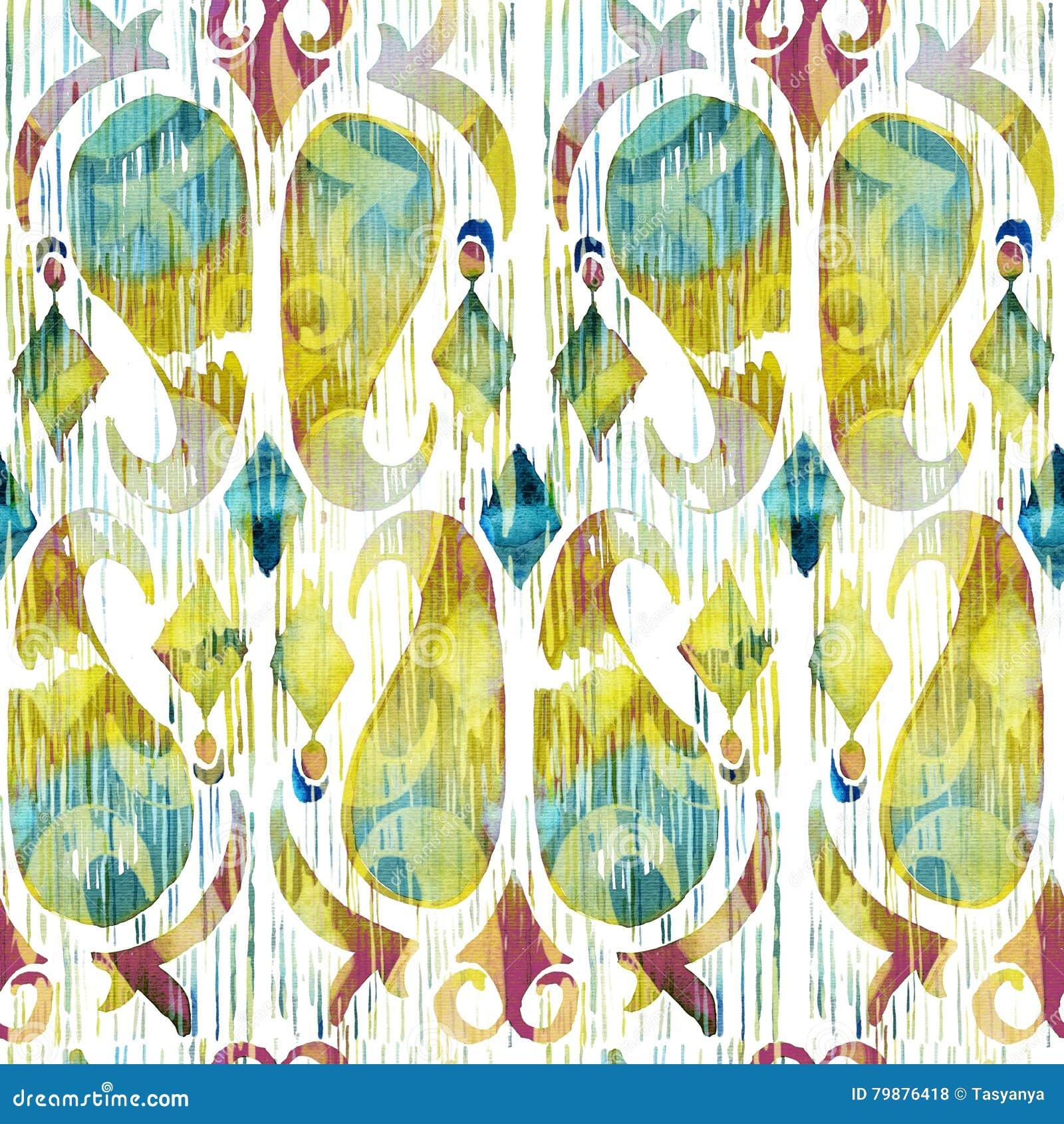 Teste padrão sem emenda vibrante do ikat verde da aquarela Tribal na moda no estilo do watercolour Pena do pavão
