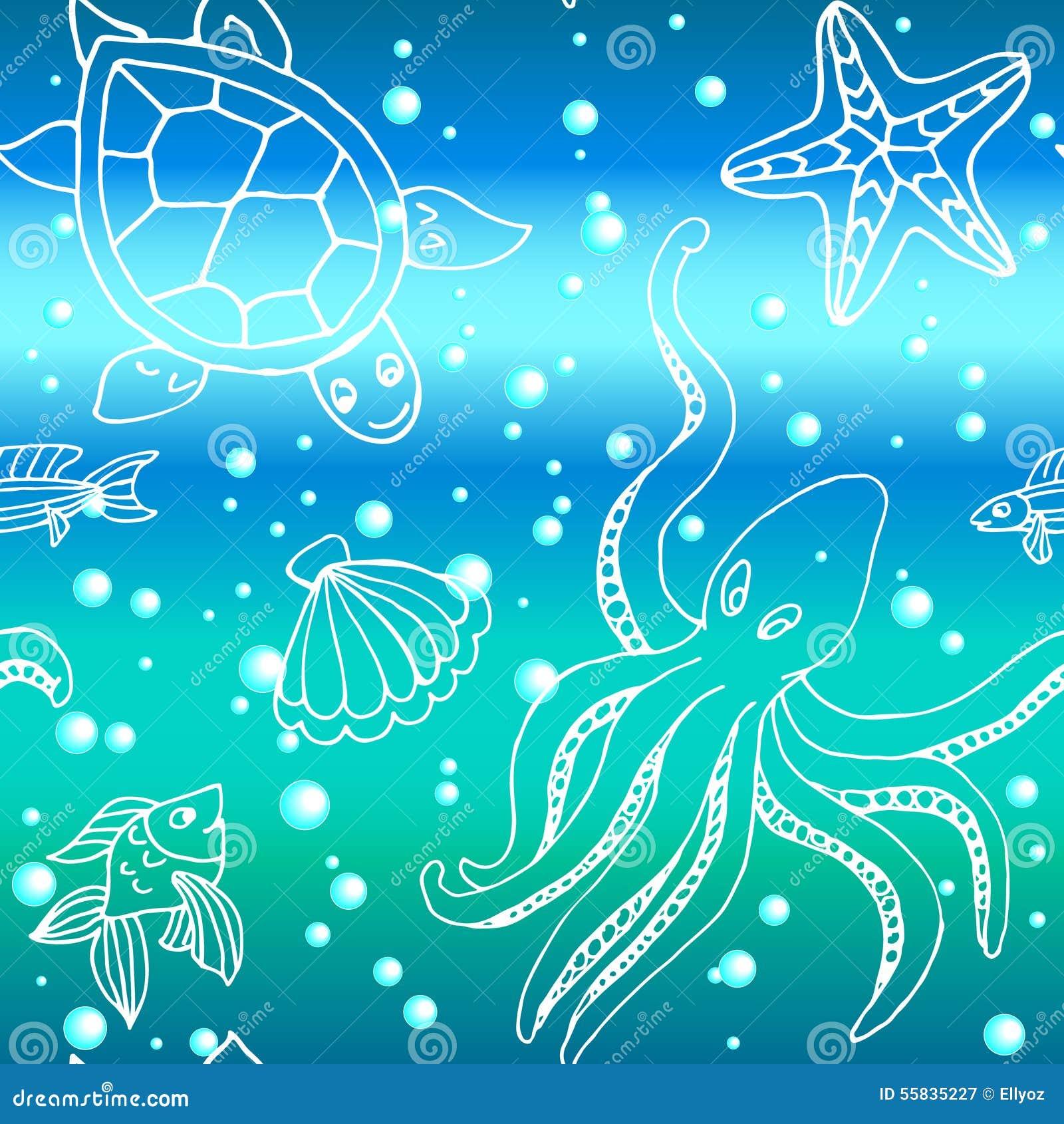 Teste padrão tirado mão com as criaturas diferentes do mar