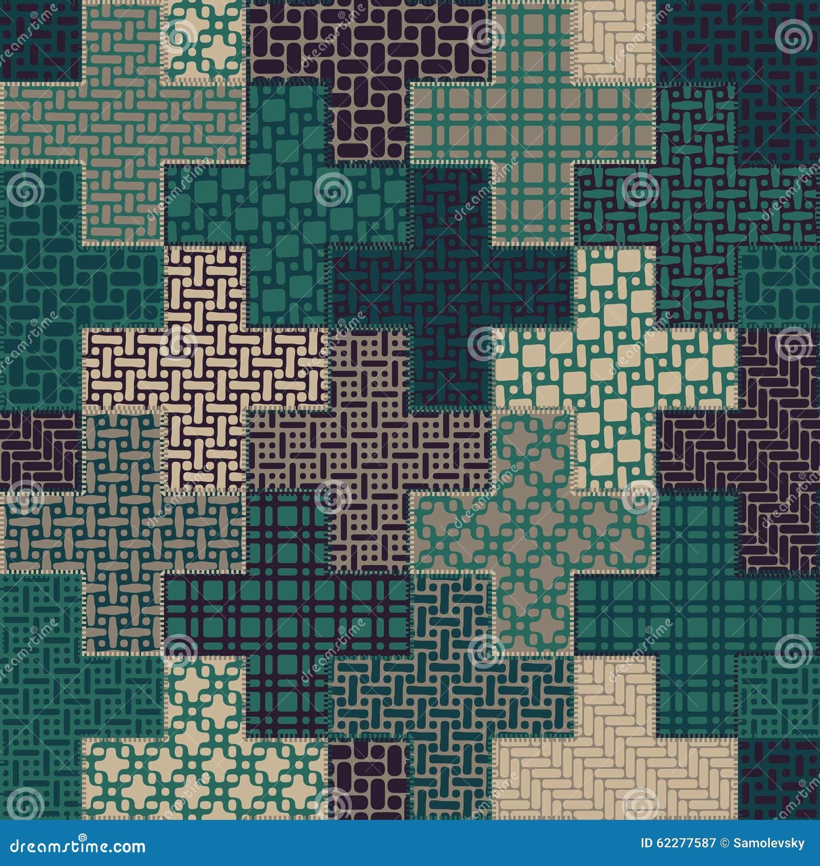 Teste padrão transversal sem emenda dos retalhos da edredão do vetor no verde e na Tan Colors