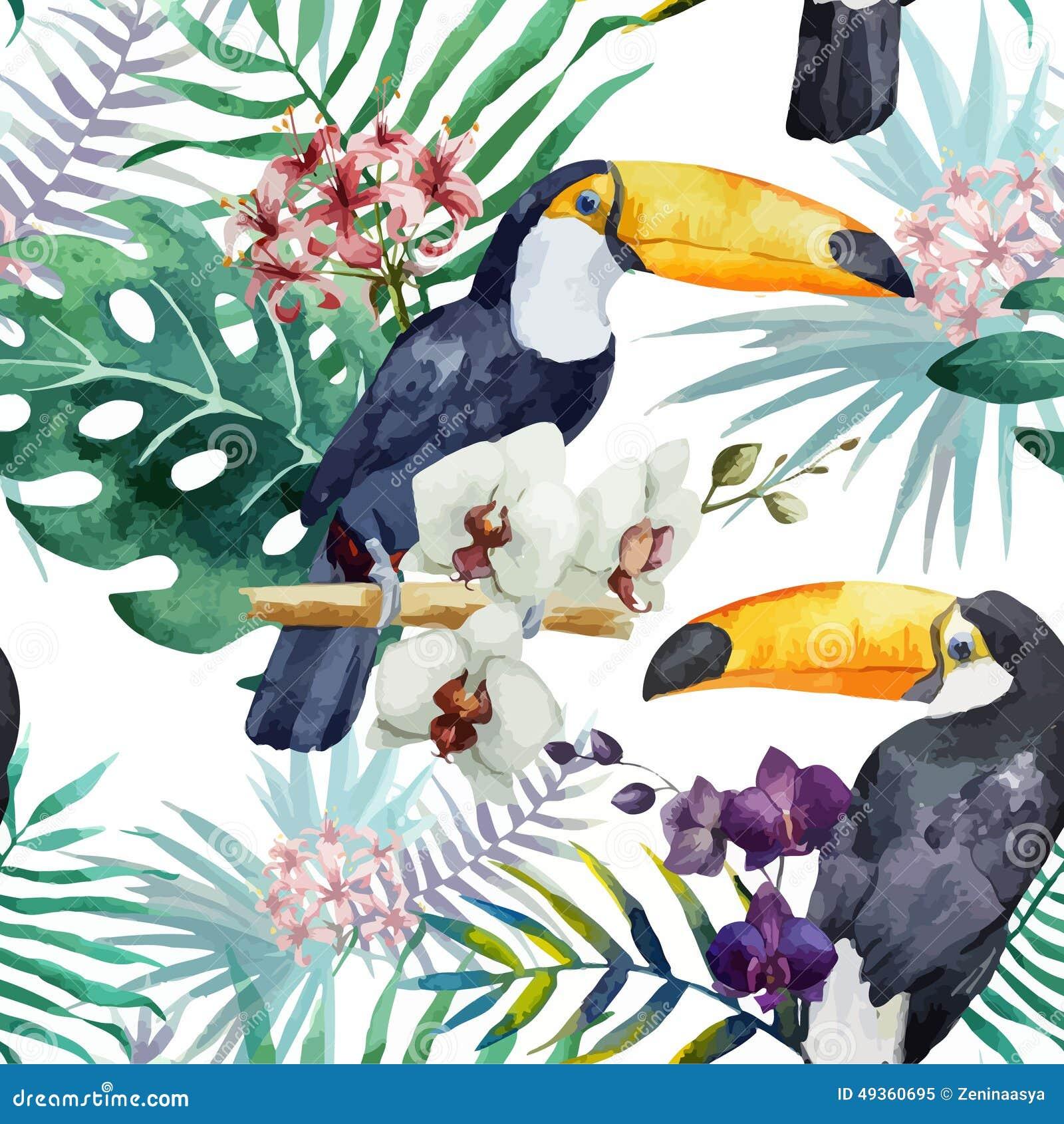 Teste padrão, tropical, aquarela