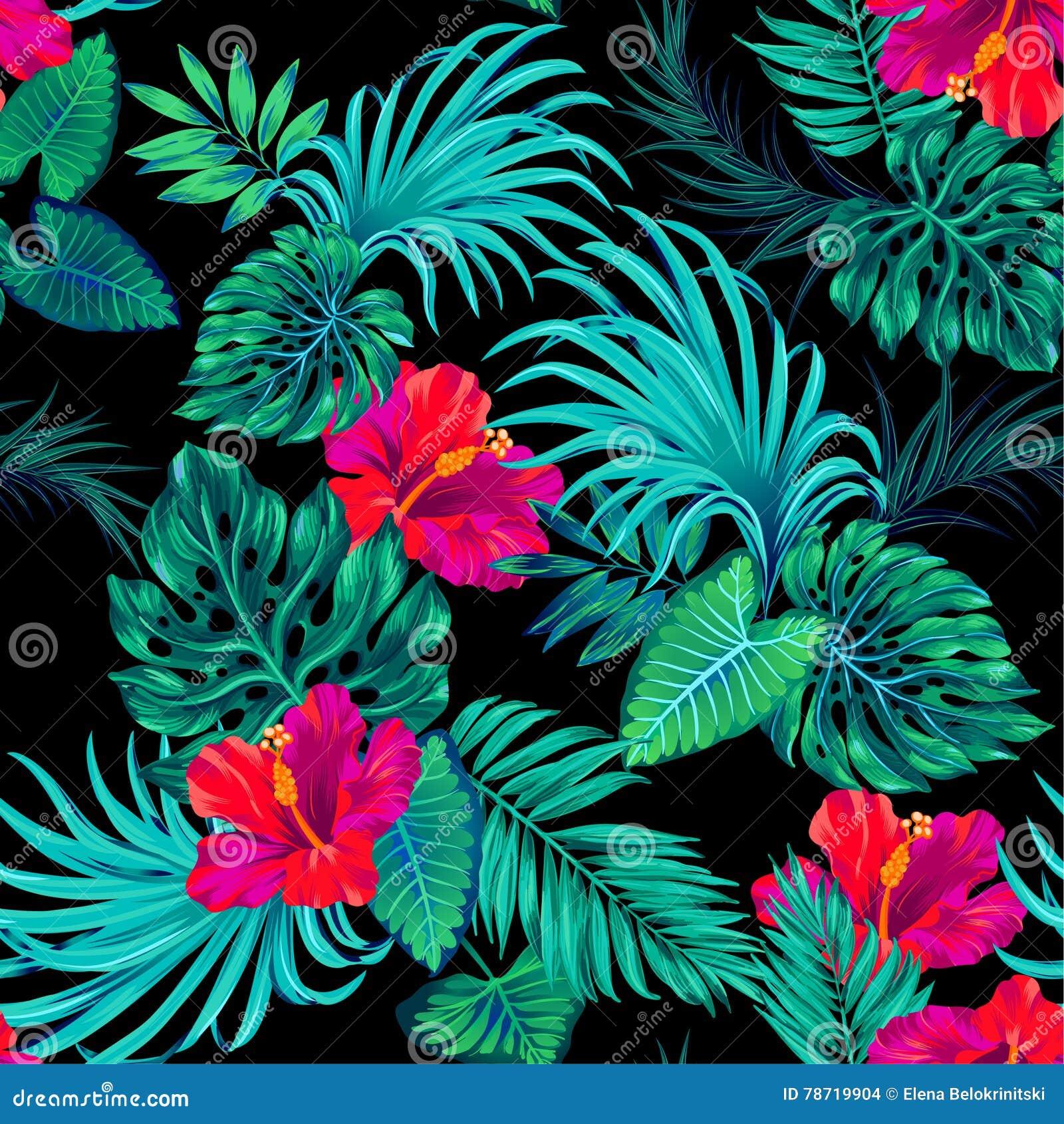 Teste padrão tropical do vetor com palmas e hibiscus