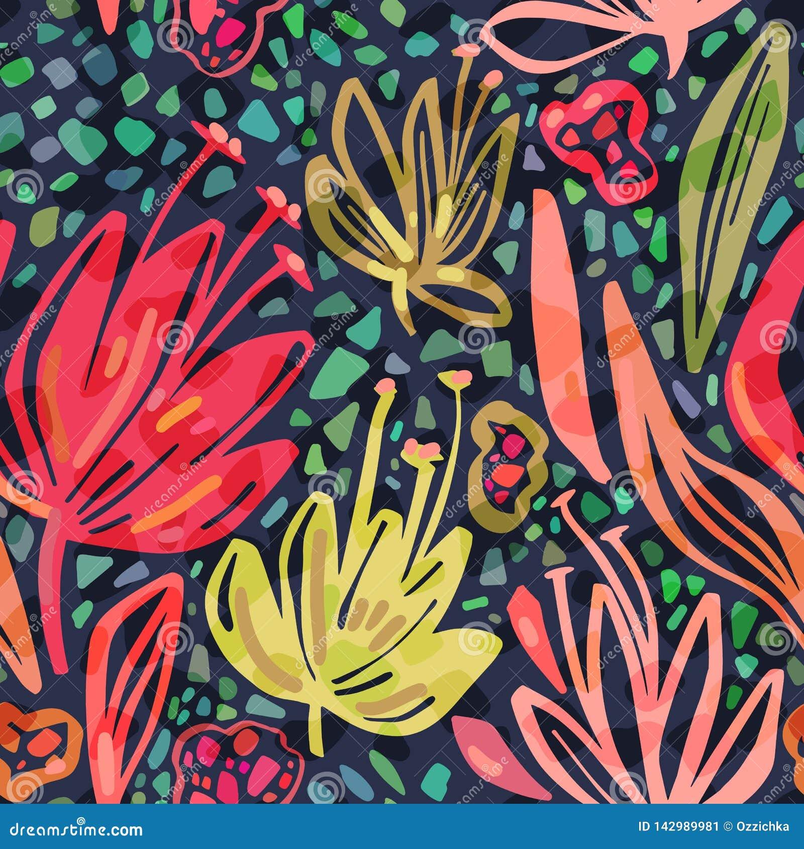 Teste padrão tropical sem emenda do vetor com as flores minimalistic brilhantes no fundo escuro, cópia floral do verão das cores