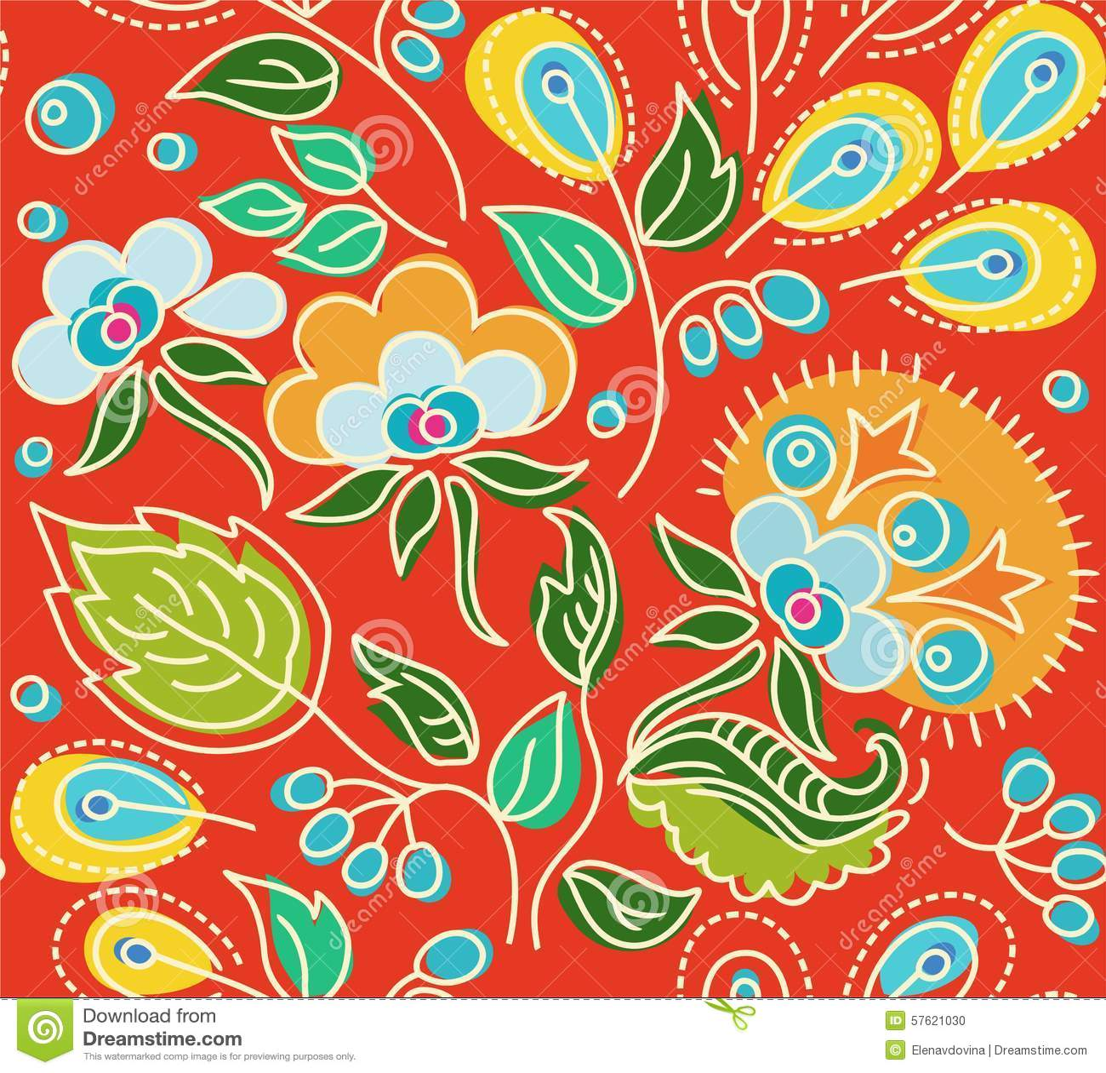 Teste padrão vermelho sem emenda das flores, folhas verdes, sementes amarelas
