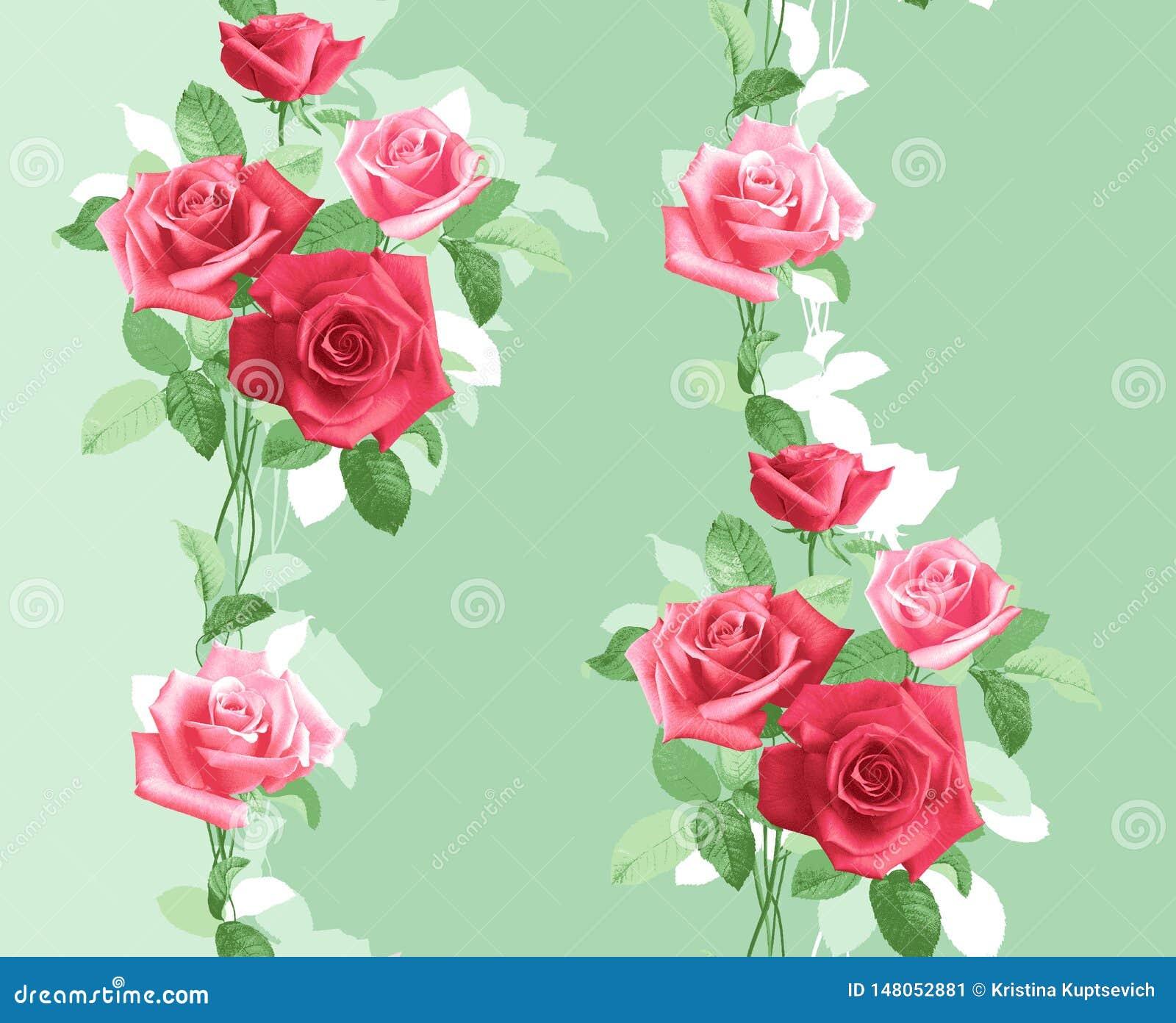 Teste padrão verticalmente repetido de rosas cor-de-rosa delicadas