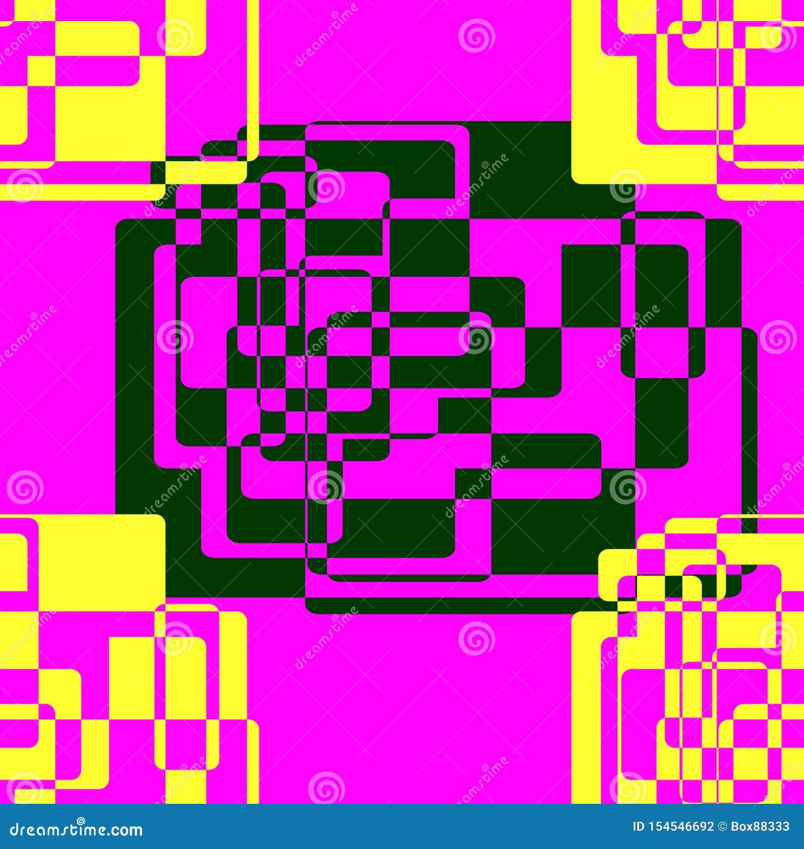 Teste padr?o abstrato sem emenda de formas geom?tricas Escuro - elementos verdes e amarelos criados dos retângulos