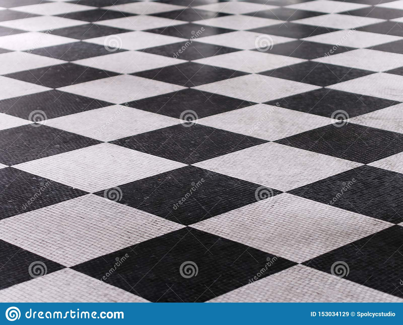 Teste padr?o de m?rmore checkered preto e branco do assoalho