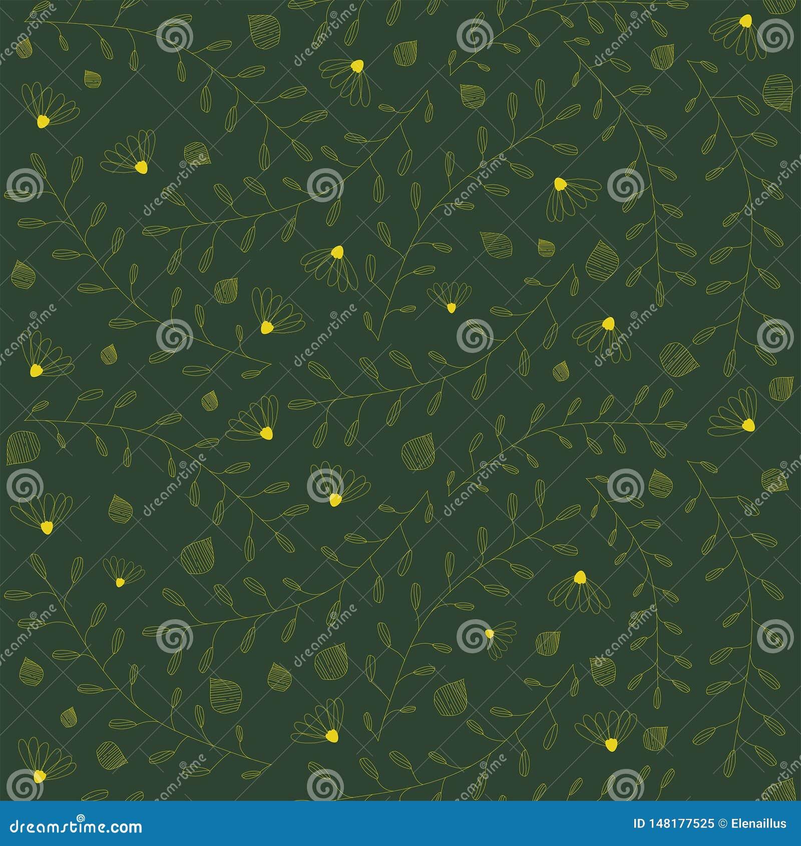 Teste padr?o floral sem emenda do vetor no fundo verde Flores, ramos, folhas, textura pequena dos elementos