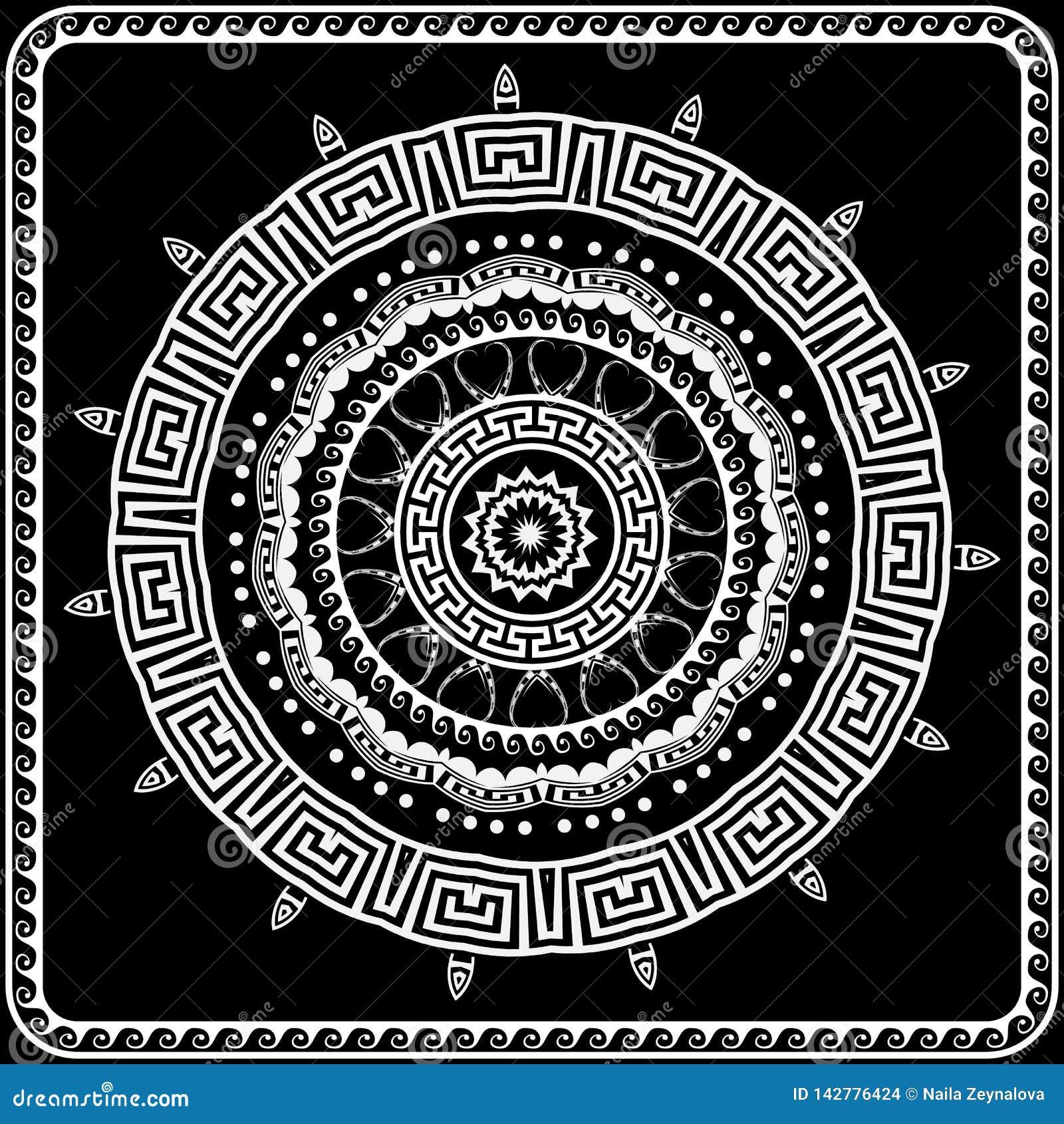 Teste padr?o redondo grego da mandala do vetor A chave grega preto e branco meandra o ornamento com formas geom?tricas, linhas da