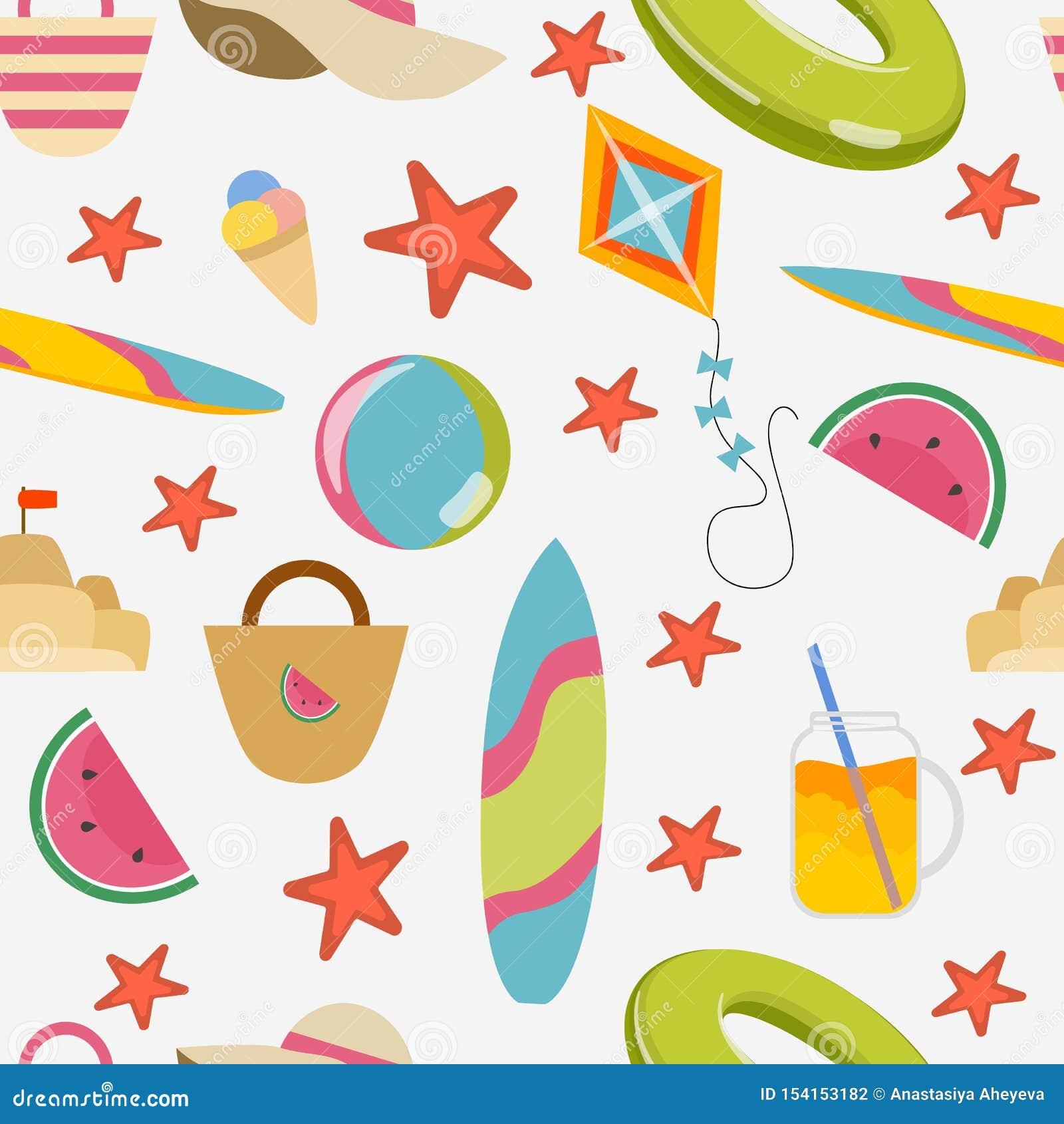 Teste padr?o sem emenda Artigos do verão: círculo, prancha, chapéu, sacos, cocktail e gelado, melancias e estrela do mar nadadore