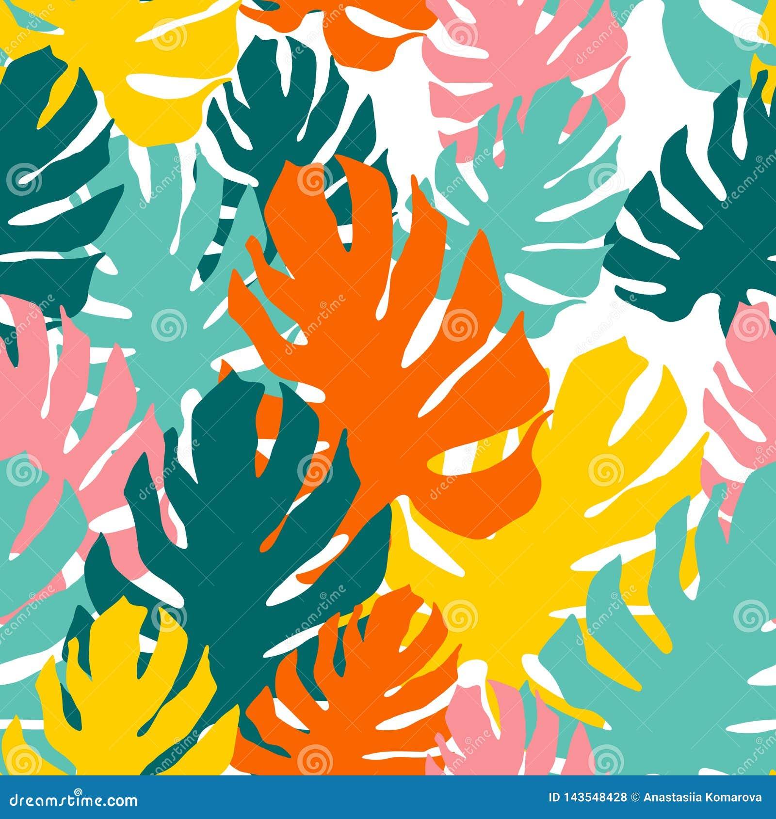 Teste padr?o sem emenda com folhas do monstro Arte de sobreposi??o no estilo da colagem Papel de parede tropical brilhante