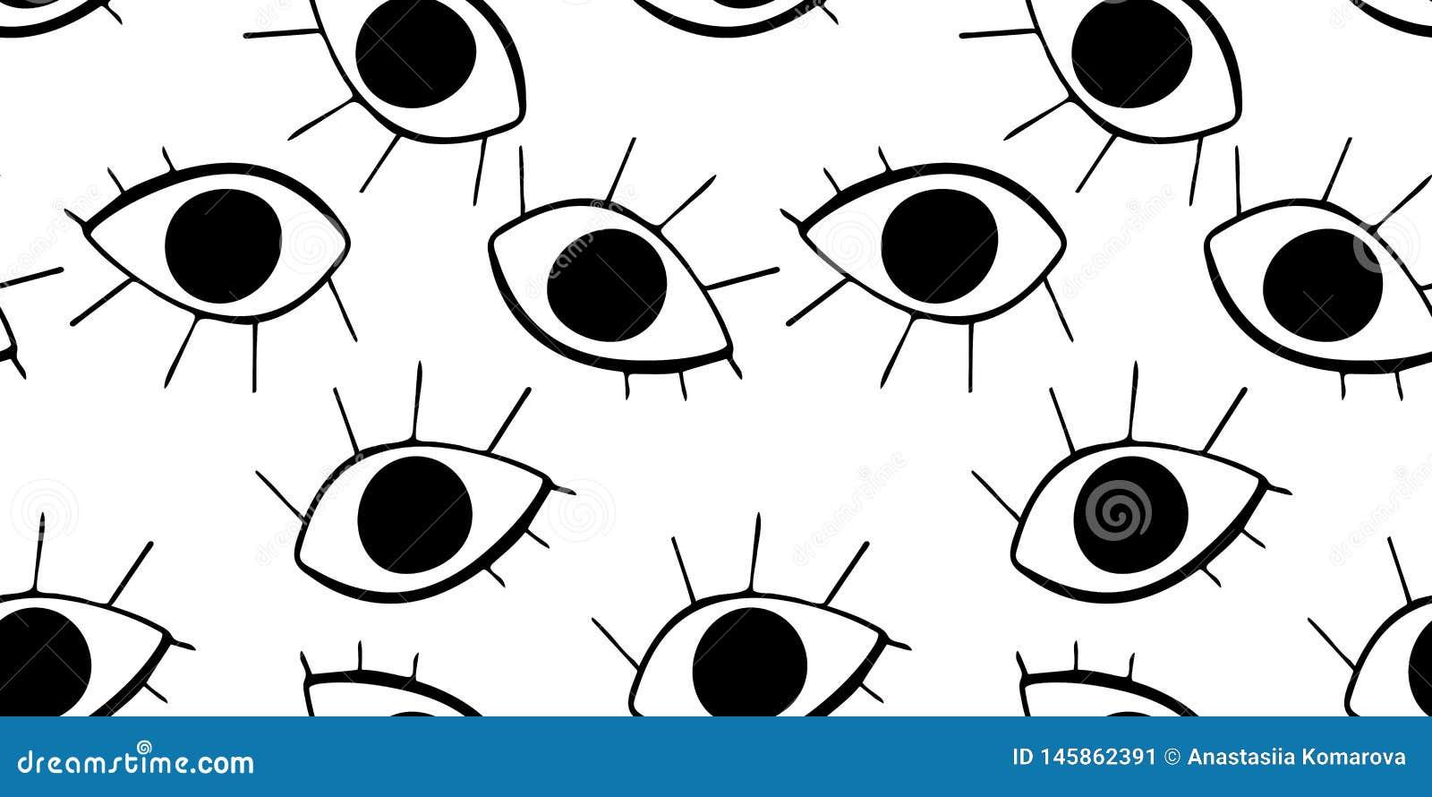 Teste padr?o sem emenda com os olhos bonitos dos desenhos animados no estilo abstrato Drawnig gr?fico preto dos globos oculares c