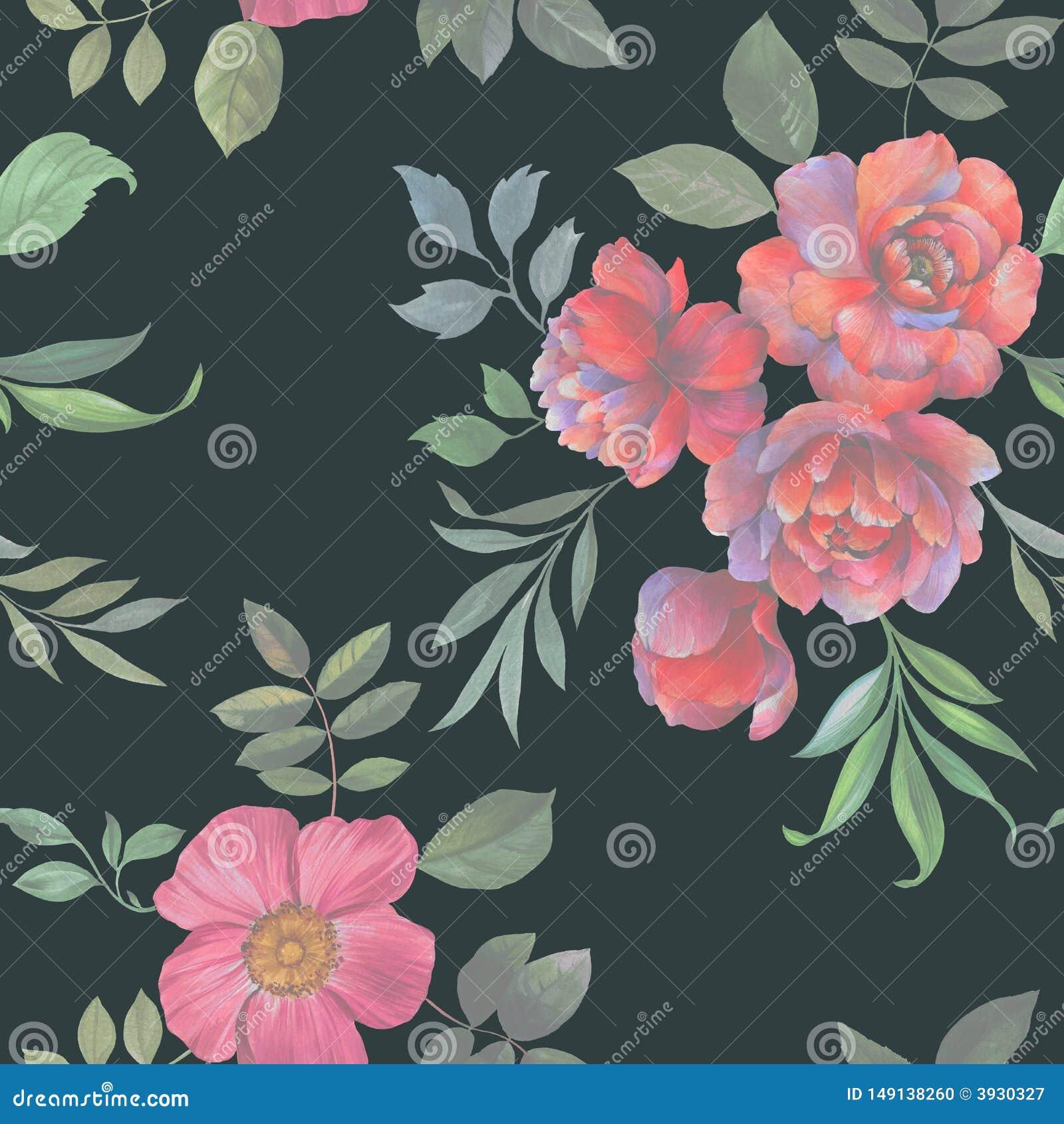 Teste padr?o sem emenda da aquarela Ilustra??o das flores e das folhas