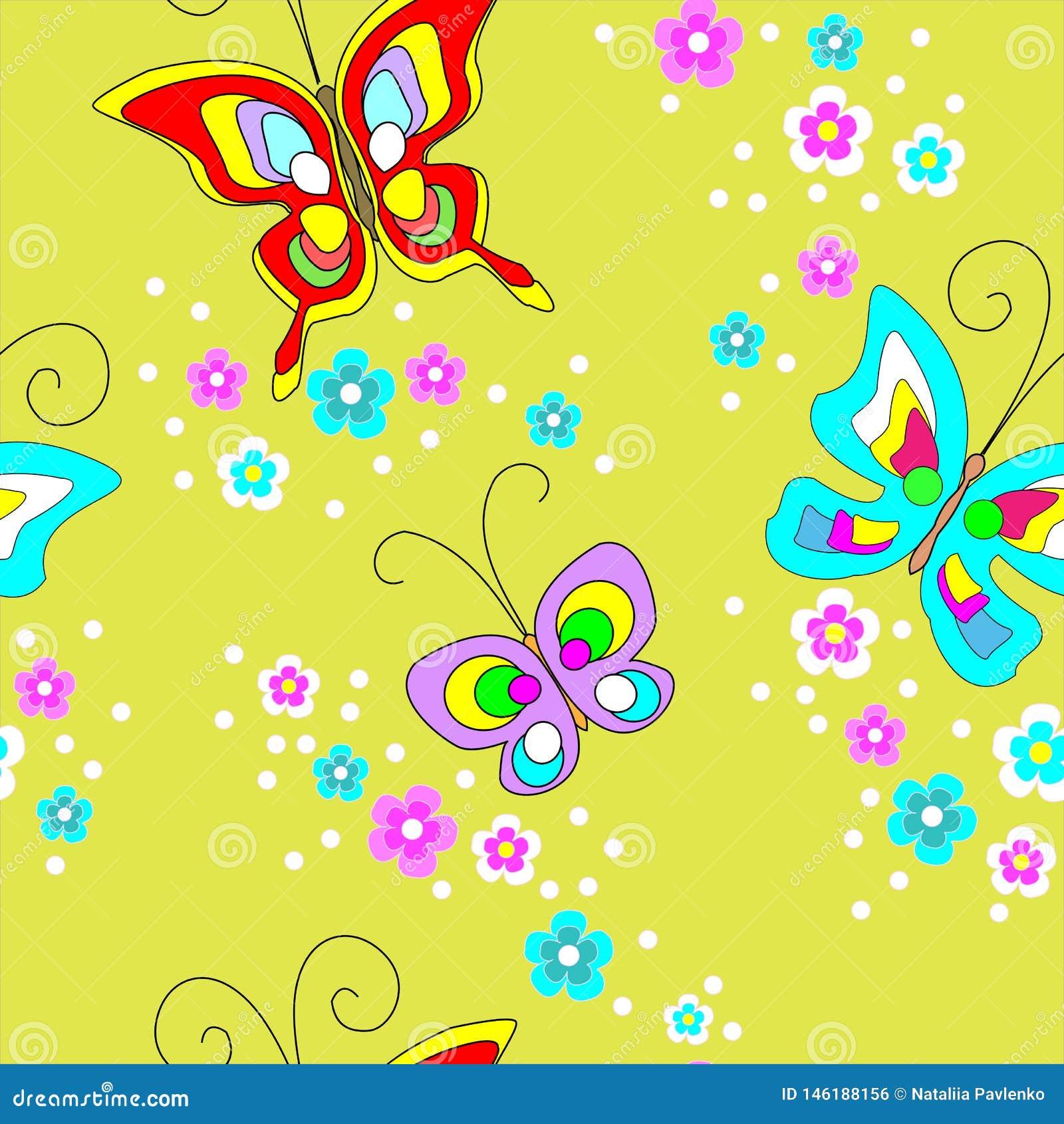 Teste padr?o sem emenda das borboletas Projeto bonito para matérias têxteis, a roupa das crianças, cartão Ilustra??o do vetor