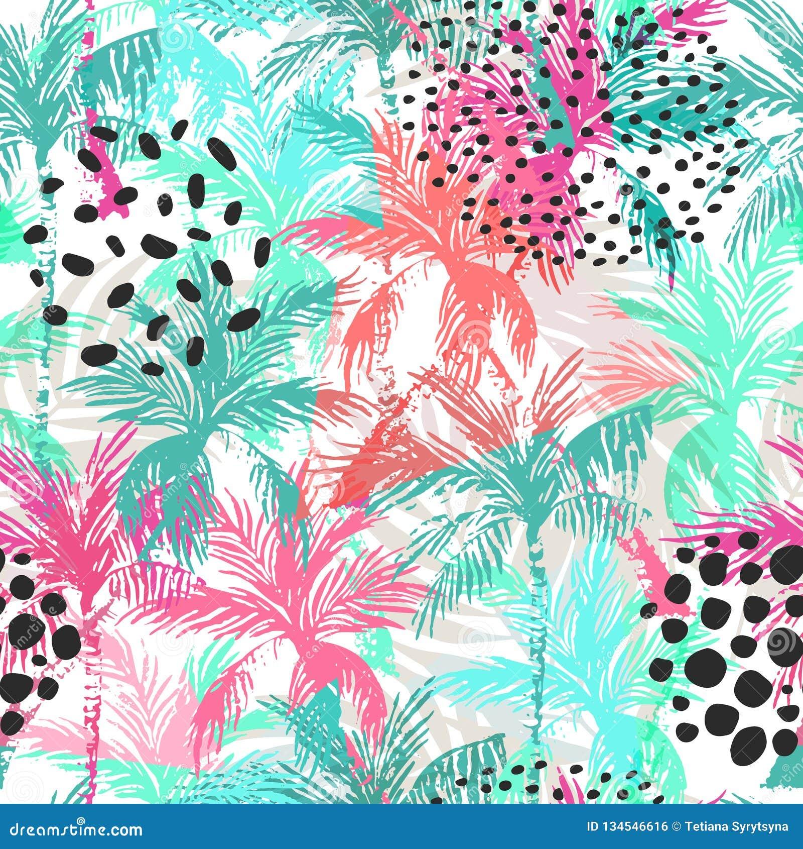 Teste padr?o sem emenda das palmeiras coloridas abstratas