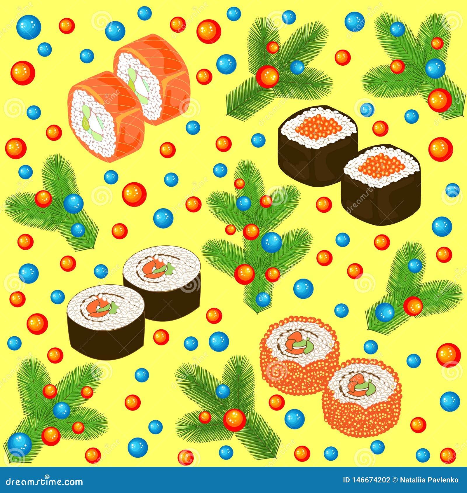 Teste padr?o sem emenda do ano novo Sushi, rolos e ramos da árvore de Natal, decorados com bolas brilhantes Apropriado para embal