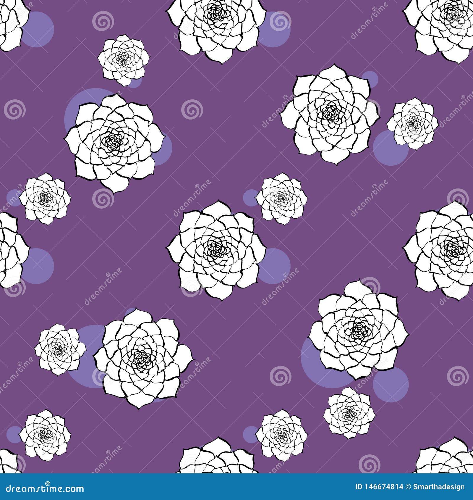 Teste padr?o sem emenda do vetor da flor do cacto Ilustração suculento roxa tirada mão do cacto do vetor Papel de parede sem emen