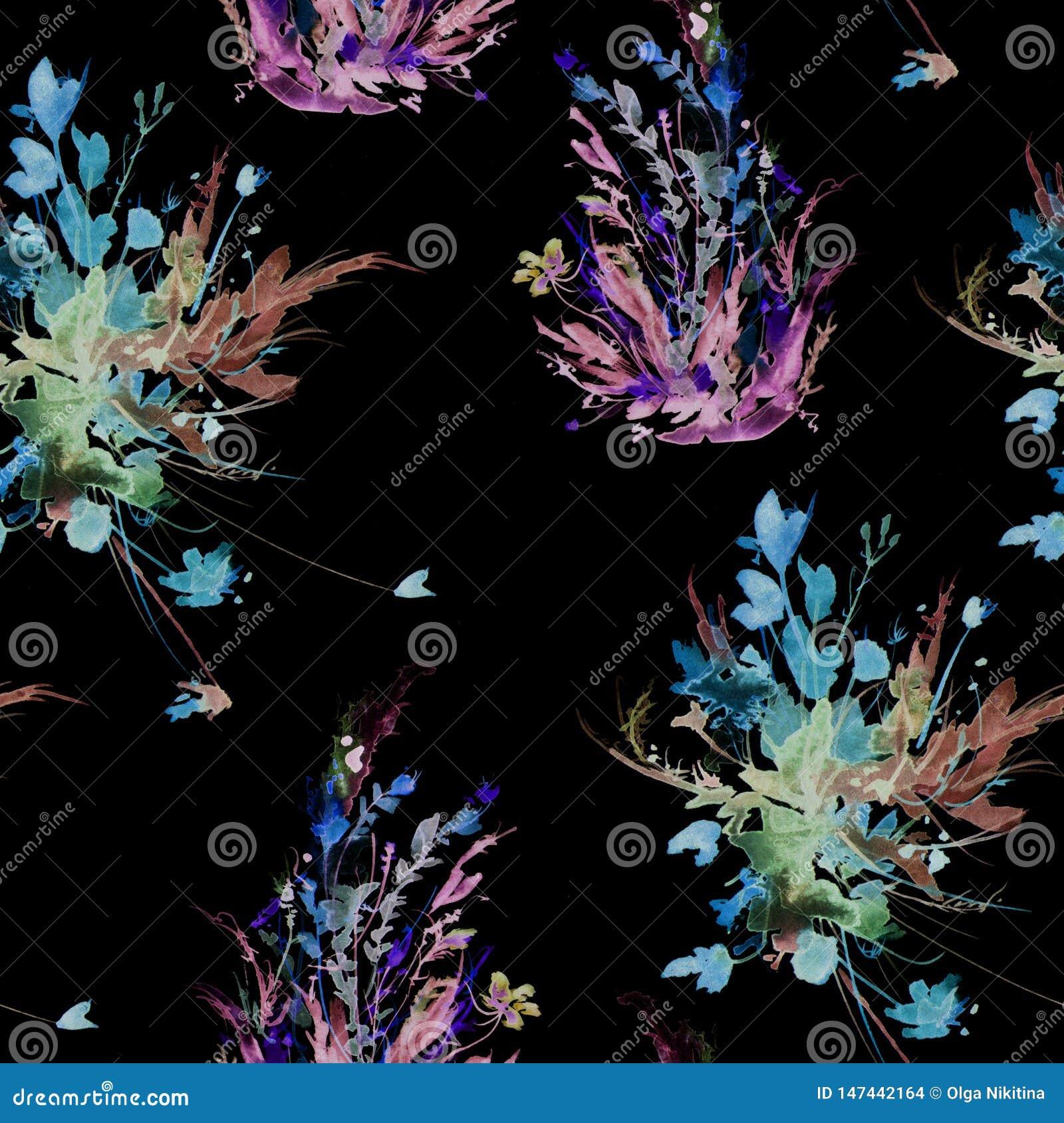Teste padr?o sem emenda do vintage da aquarela, teste padr?o floral, rosa, rosas, papoila, bot?es Plantas, flores, grama na grama