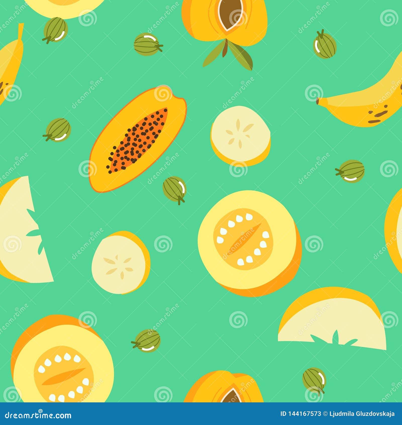 Teste padr?o sem emenda dos frutos ex?ticos tropicais Fundo org?nico fresco bonito dos frutos Ilustração do vetor da melancia, ce