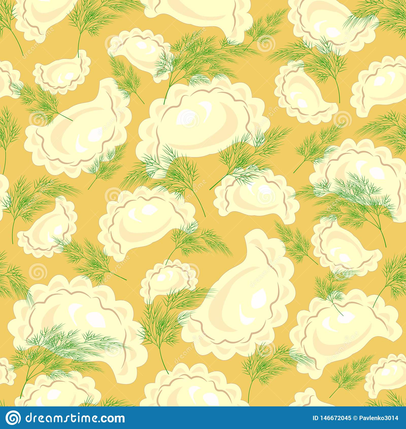 Teste padr?o sem emenda Ravioli delicioso fresco, bolinhas de massa com verdes, aneto Apropriado como o papel de parede na cozinh
