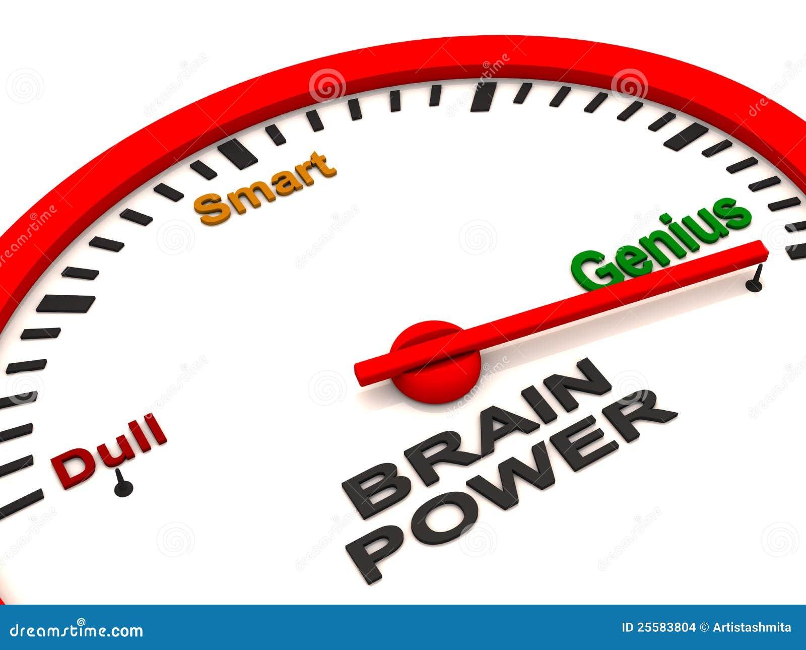 Power Meter Cartoon : Tester di potenza del cervello illustrazione stock