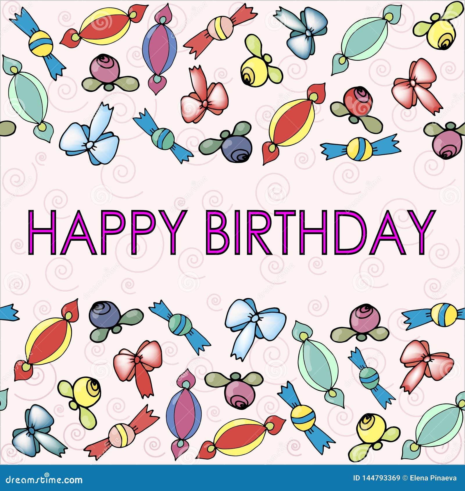 Testes padrões com curvas, bagas e doces para o aniversário