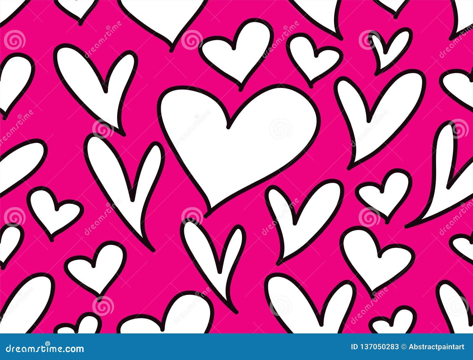 Testes padrões sem emenda com corações pretos, fundo do amor, vetor da forma do coração, dia de Valentim, textura, pano, casament