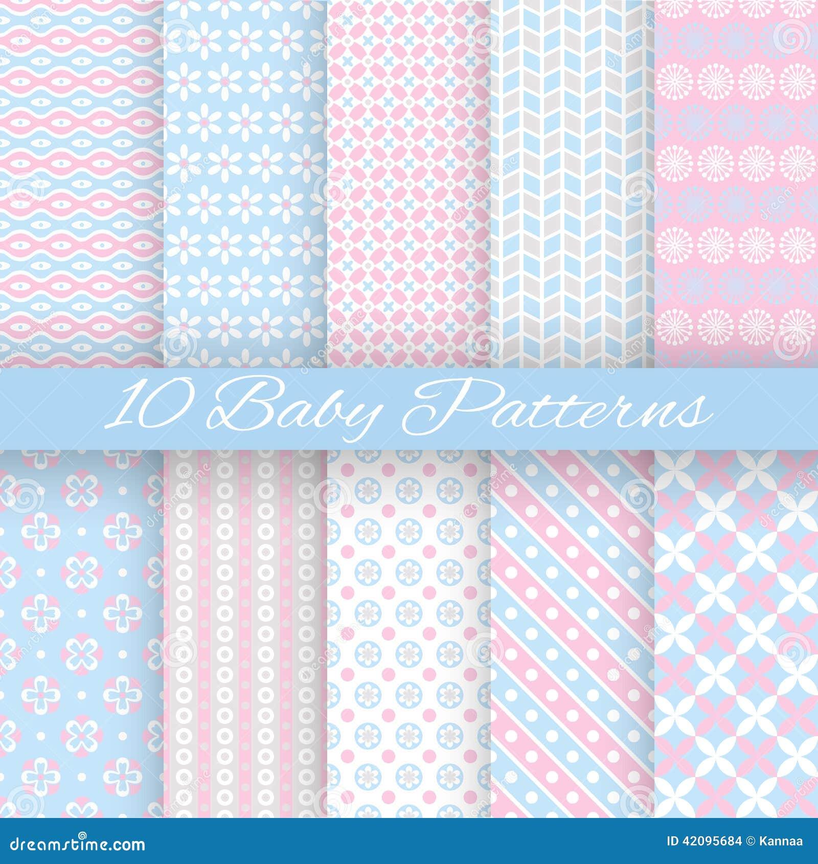 Testes padrões sem emenda do vetor diferente da cor pastel do bebê