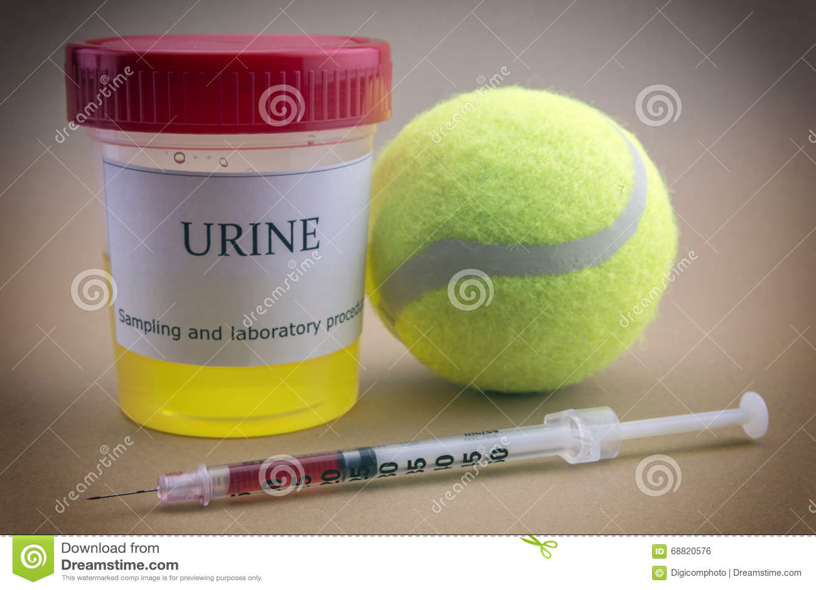 8f06150f68e Testes Para A Pesquisa Da Urina Junto Com Uma Bola Do Tênis Foto de ...