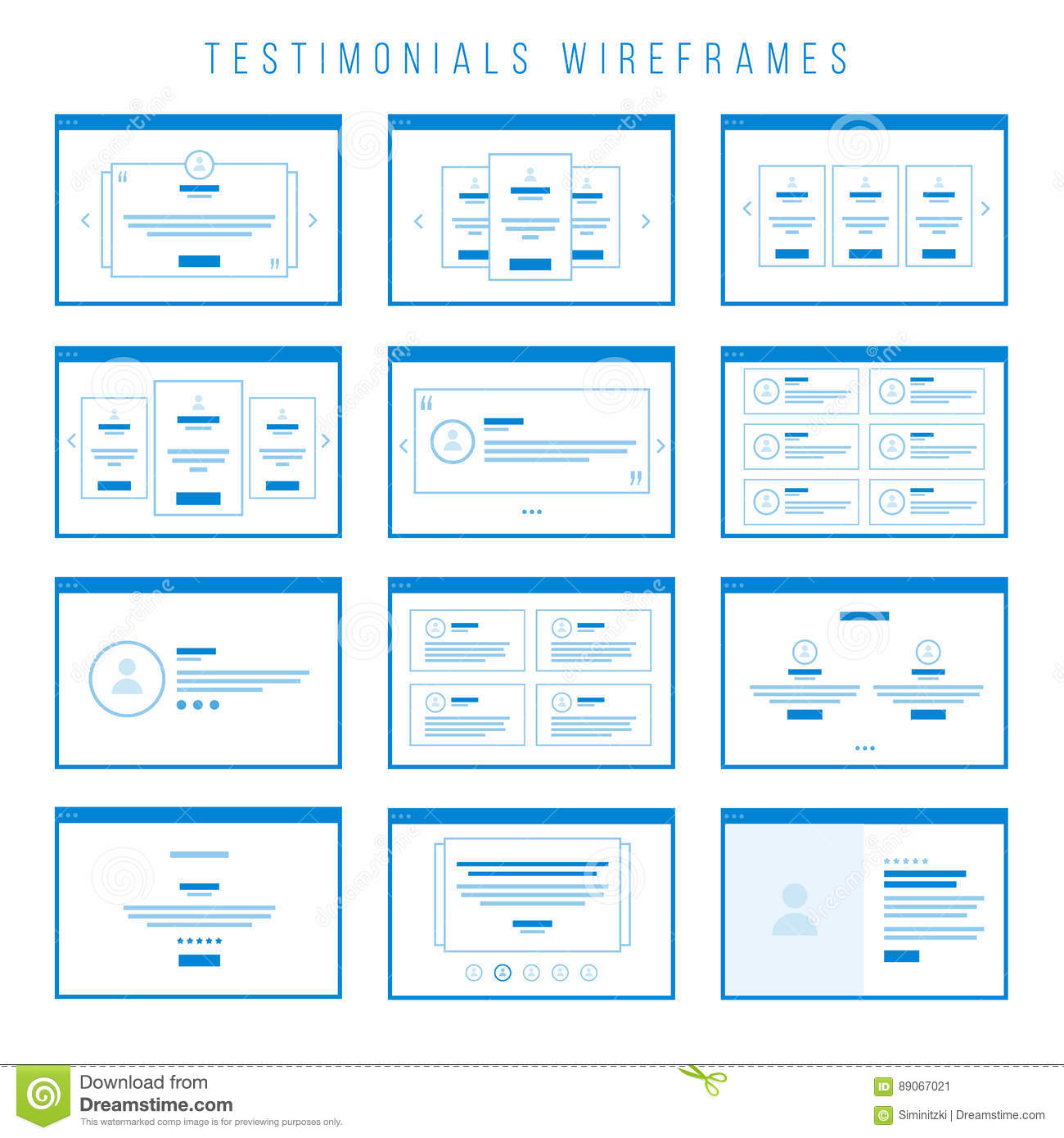 Testimonials Wireframe components for prototypes.