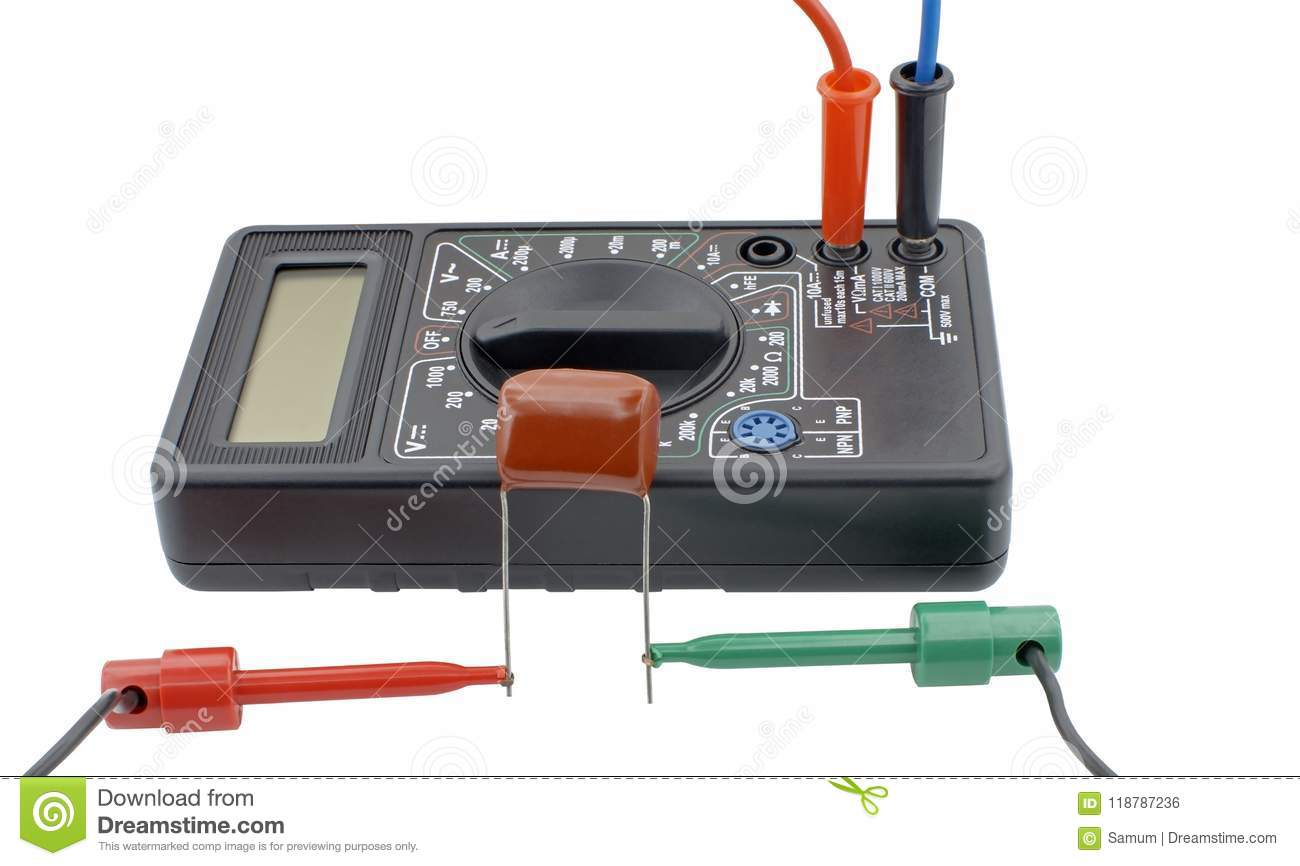 testing capacitor with multimeter on white stock photo image of