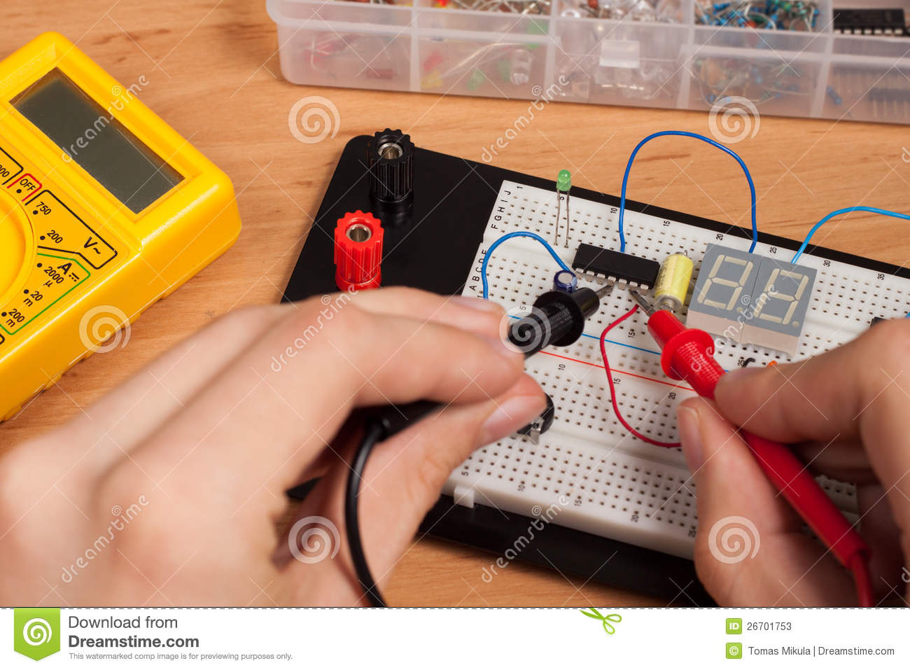 Testing Electrical Circuit On Breadboard Stock Image Of Breadboards Are Used To Prototype Electronic Circuits Without Having