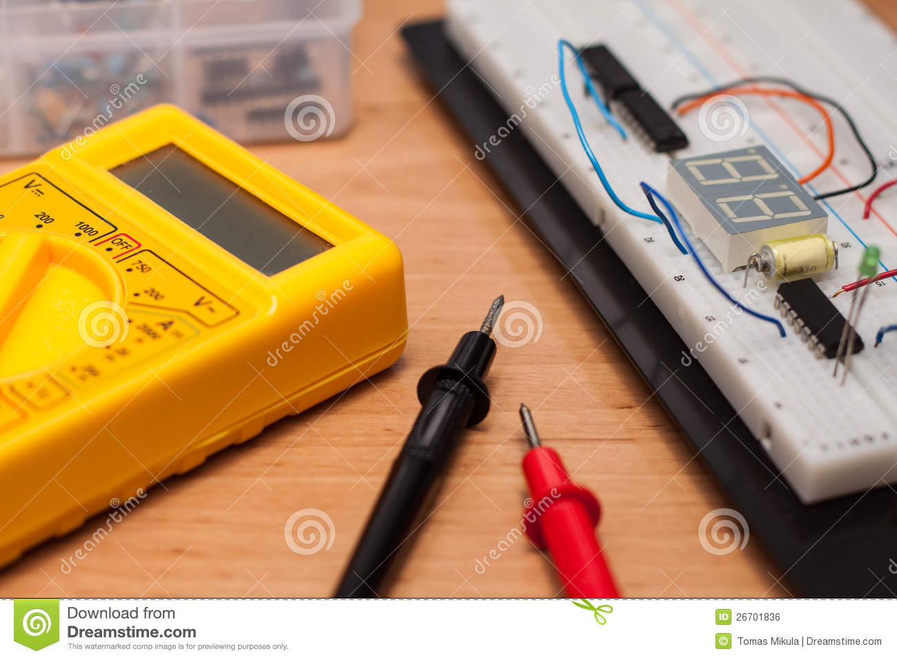 Testing Electrical Circuit On Breadboard Stock Photos Image Wire Farfromgenerator Short Royalty Free 26701836 Disconnect Pcb Test