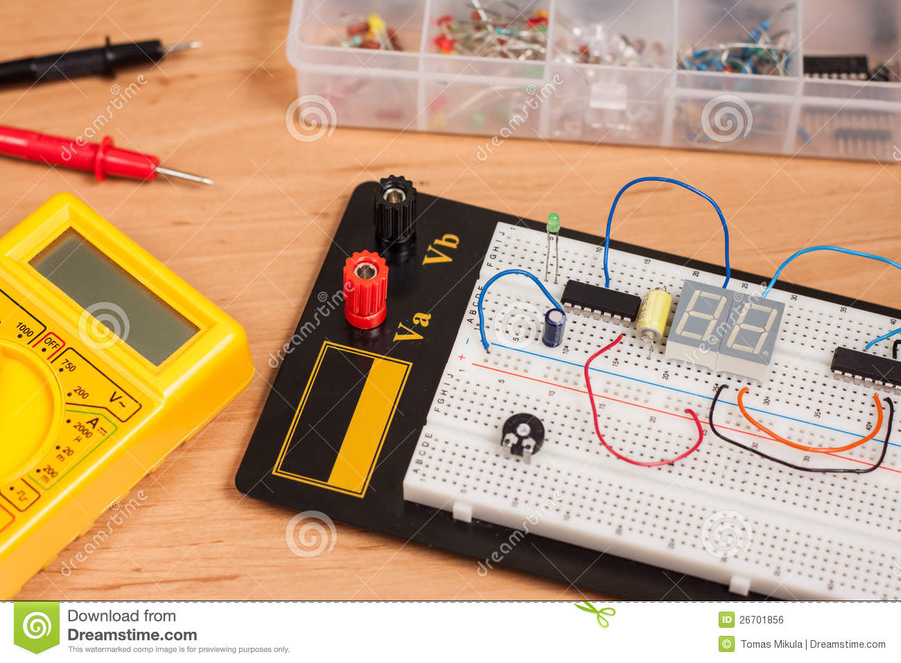 Testing Electrical Circuit On Breadboard Stock Photos Image Wire Farfromgenerator Short Photo 26701856 Disconnect Gfci Tester