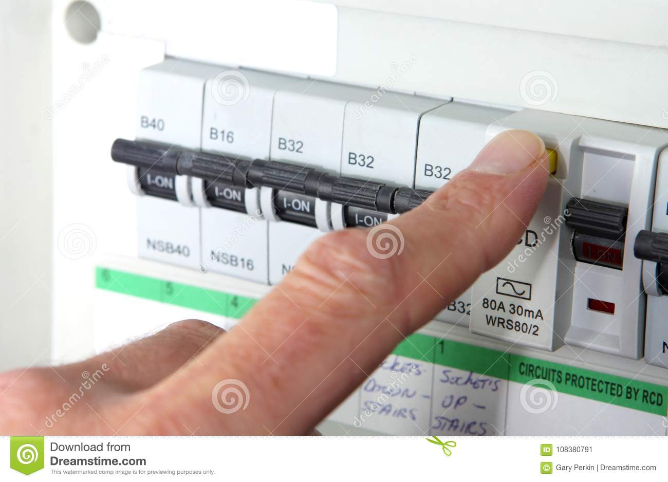 Testing Fuse Box Electrical Wiring Diagram Car Making Noise An Rcd X28 Residual Current Device X29 On A Uk Domestic Rh Dreamstime Com With Multimeter