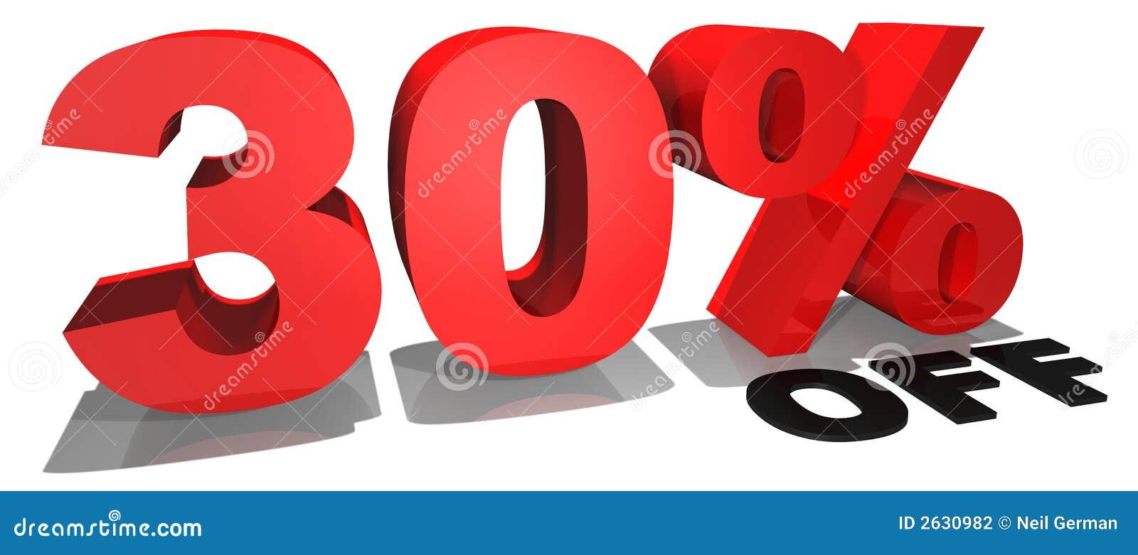 Testo 30  di promozione di vendita fuori