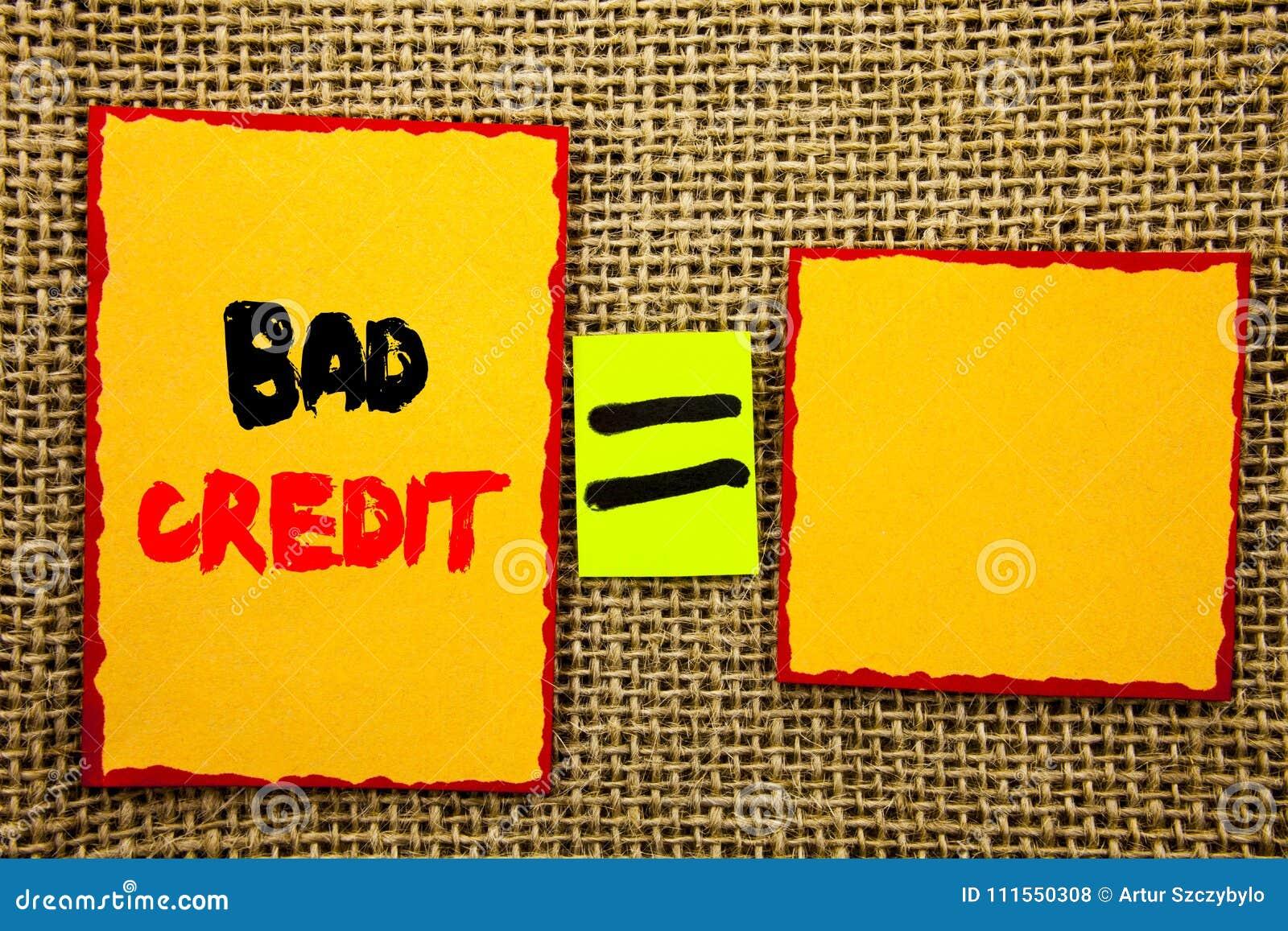 Testo che mostra cattivo credito Foto di affari che montra il povero punteggio di valutazione della Banca per finanza di prestito